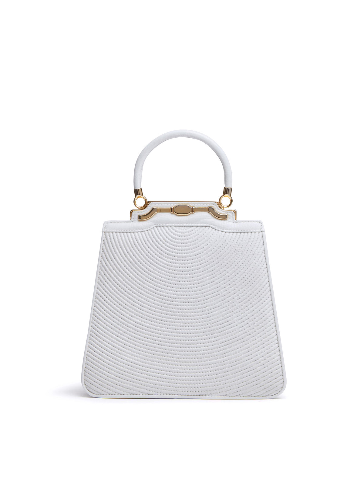 Mark Cross Vintage Crescent Stitched Leather Top Handle Bag White Front