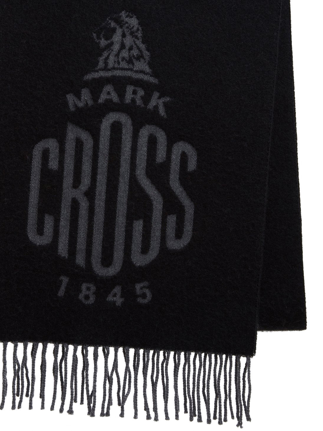 Mark Cross Beacon Wool Scarf Black / Charcoal Detail