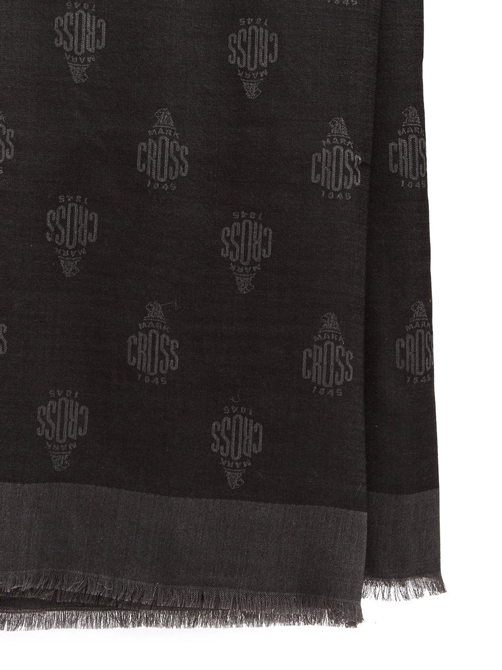Mark Cross Meadow Cashmere Blend Scarf Black / Charcoal Detail