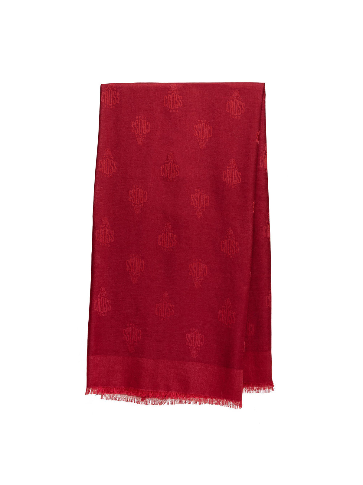 Mark Cross Meadow Cashmere Blend Scarf Mc Red / Burgundy Front