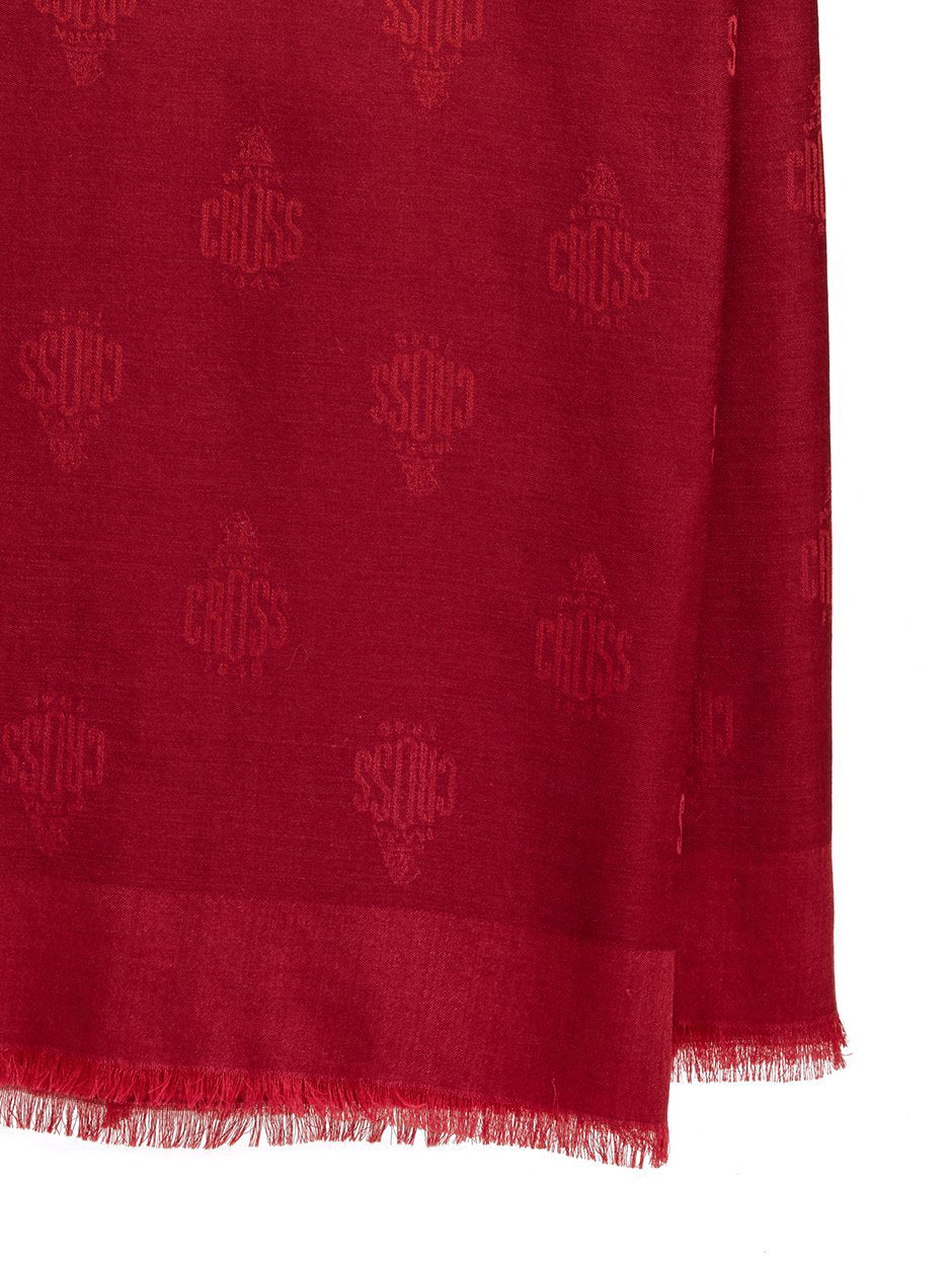 Mark Cross Meadow Cashmere Blend Scarf Mc Red / Burgundy Detail