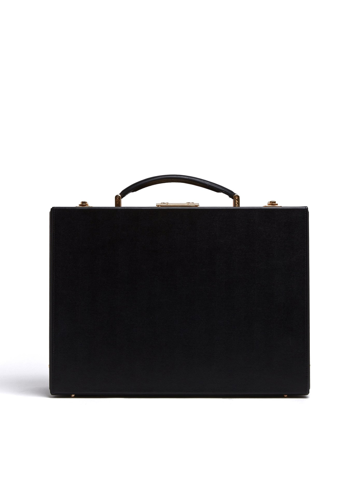 Mark Cross Grace Small Leather Trunk Saffiano Black Front