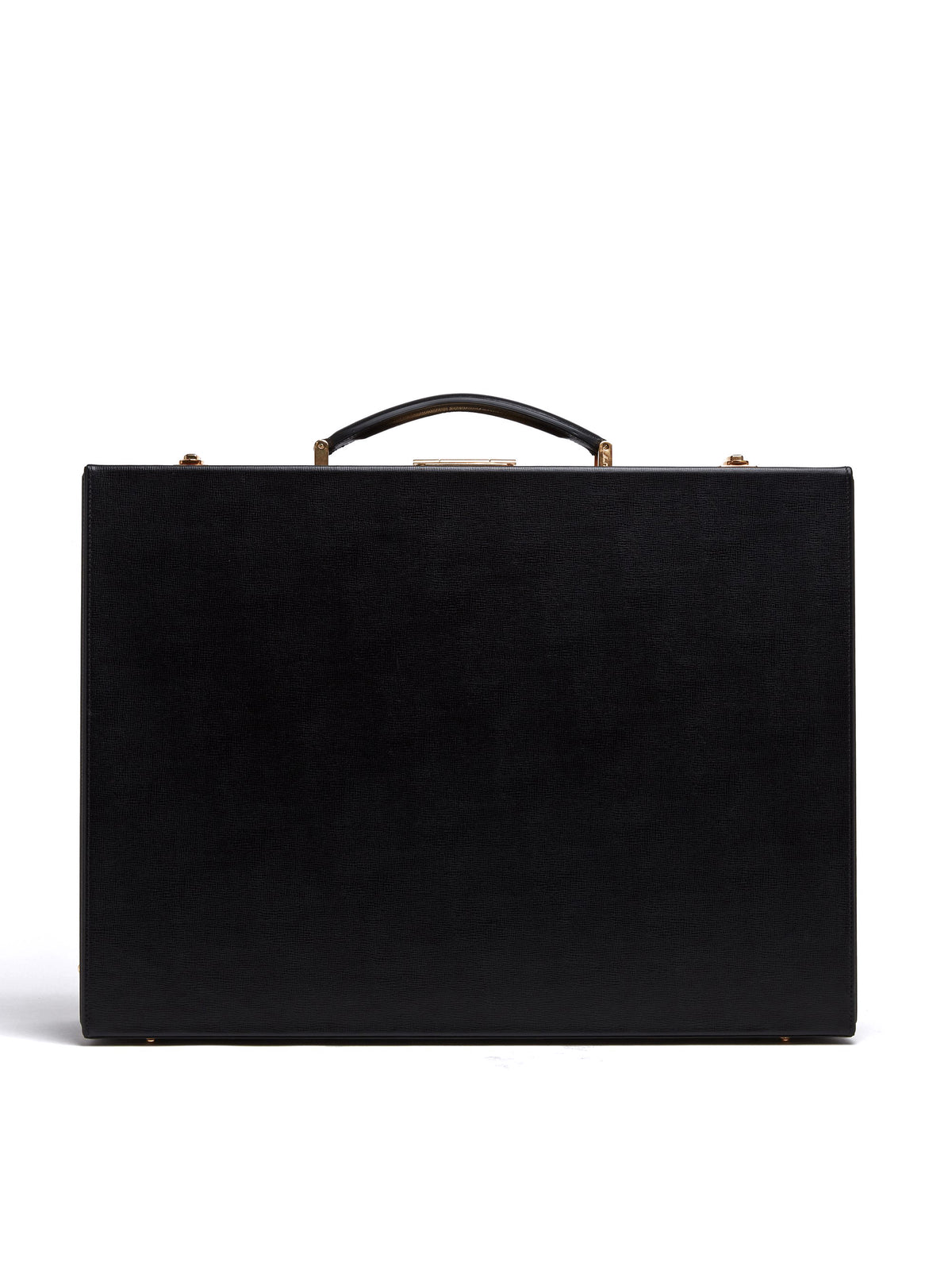 Mark Cross Grace Medium Leather Trunk Saffiano Black Front