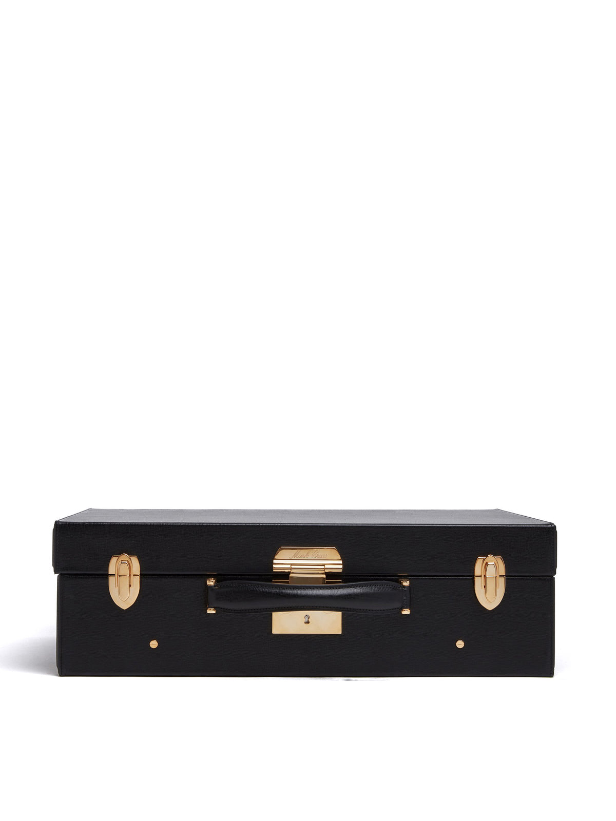 Mark Cross Grace Medium Leather Trunk Saffiano Black Side