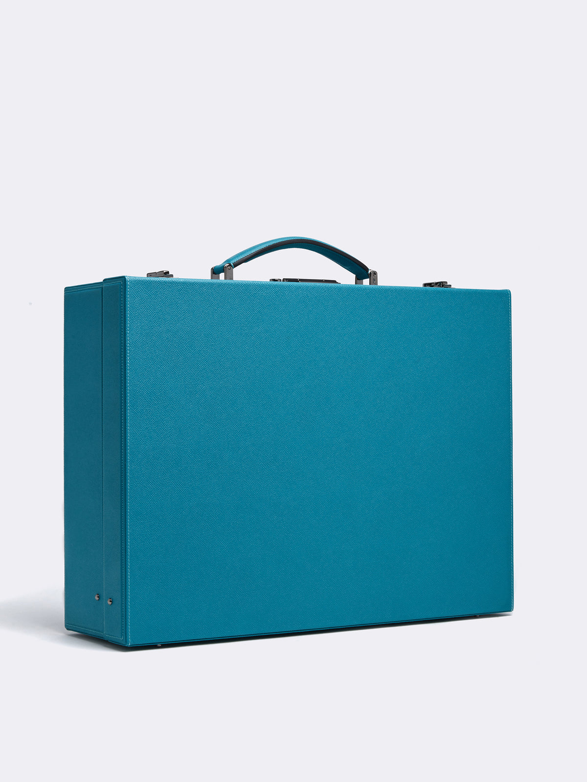 Mark Cross Grace Medium Leather Trunk Saffiano Turquoise Side
