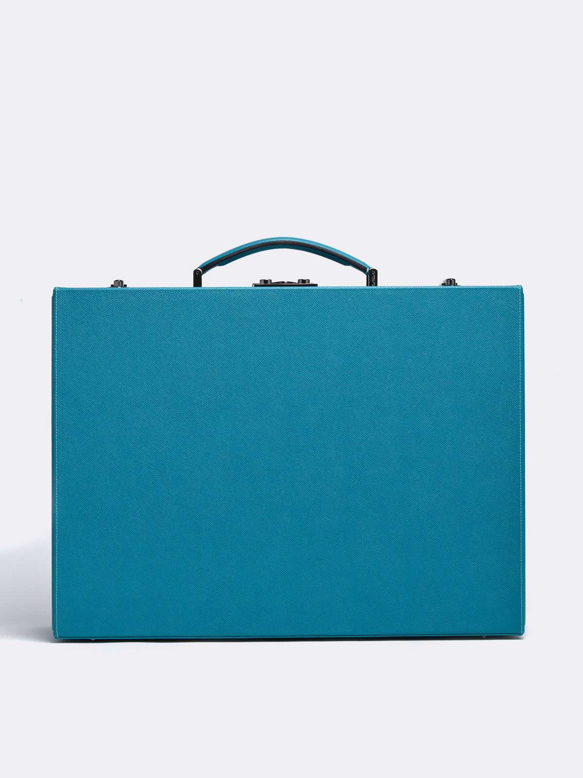 Mark Cross Grace Medium Leather Trunk Saffiano Turquoise Front