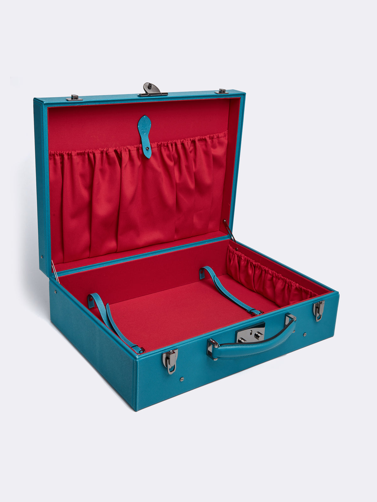Mark Cross Grace Medium Leather Trunk Saffiano Turquoise Interior