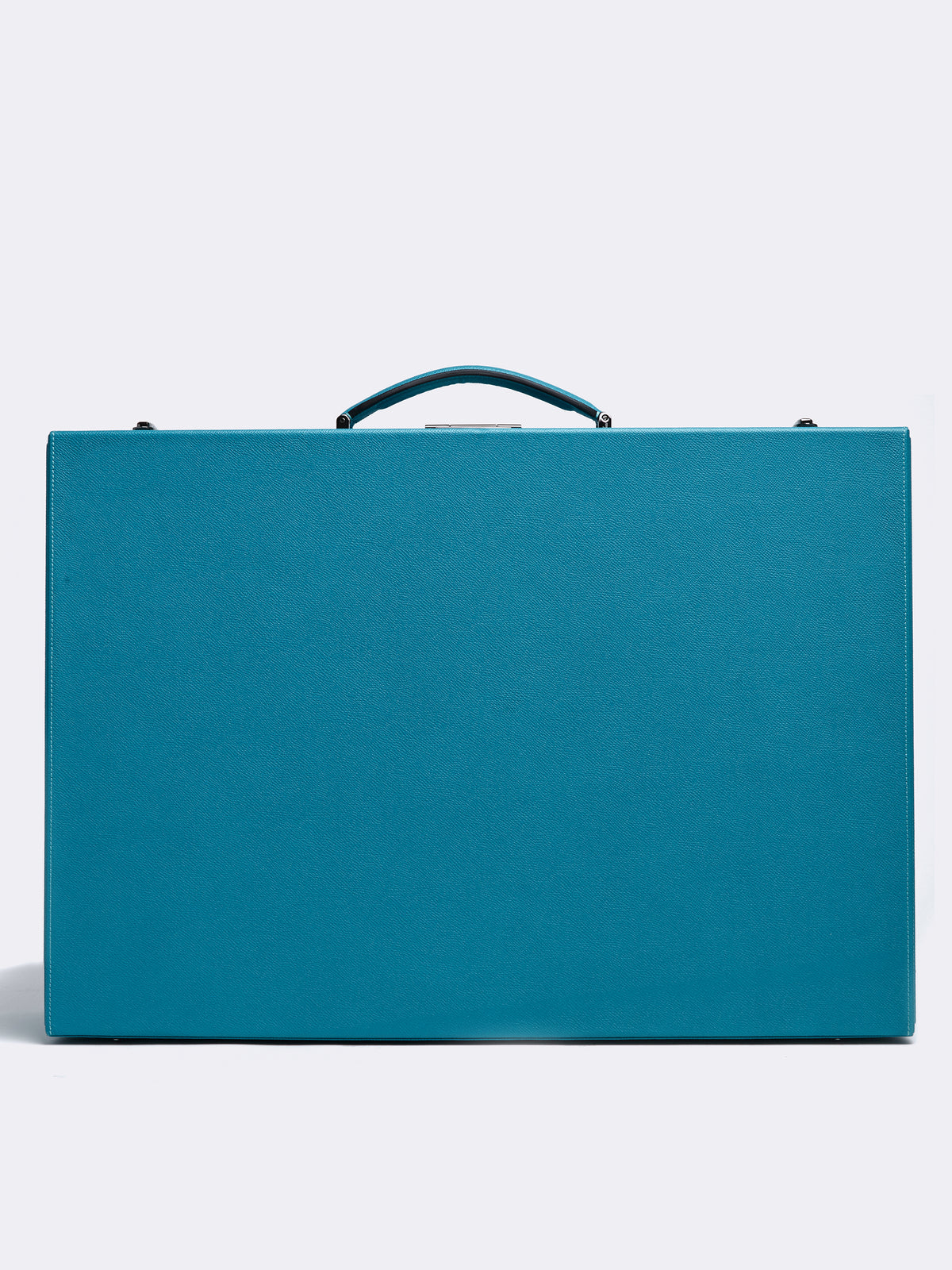 Mark Cross Grace Large Leather Trunk Saffiano Turquoise Front