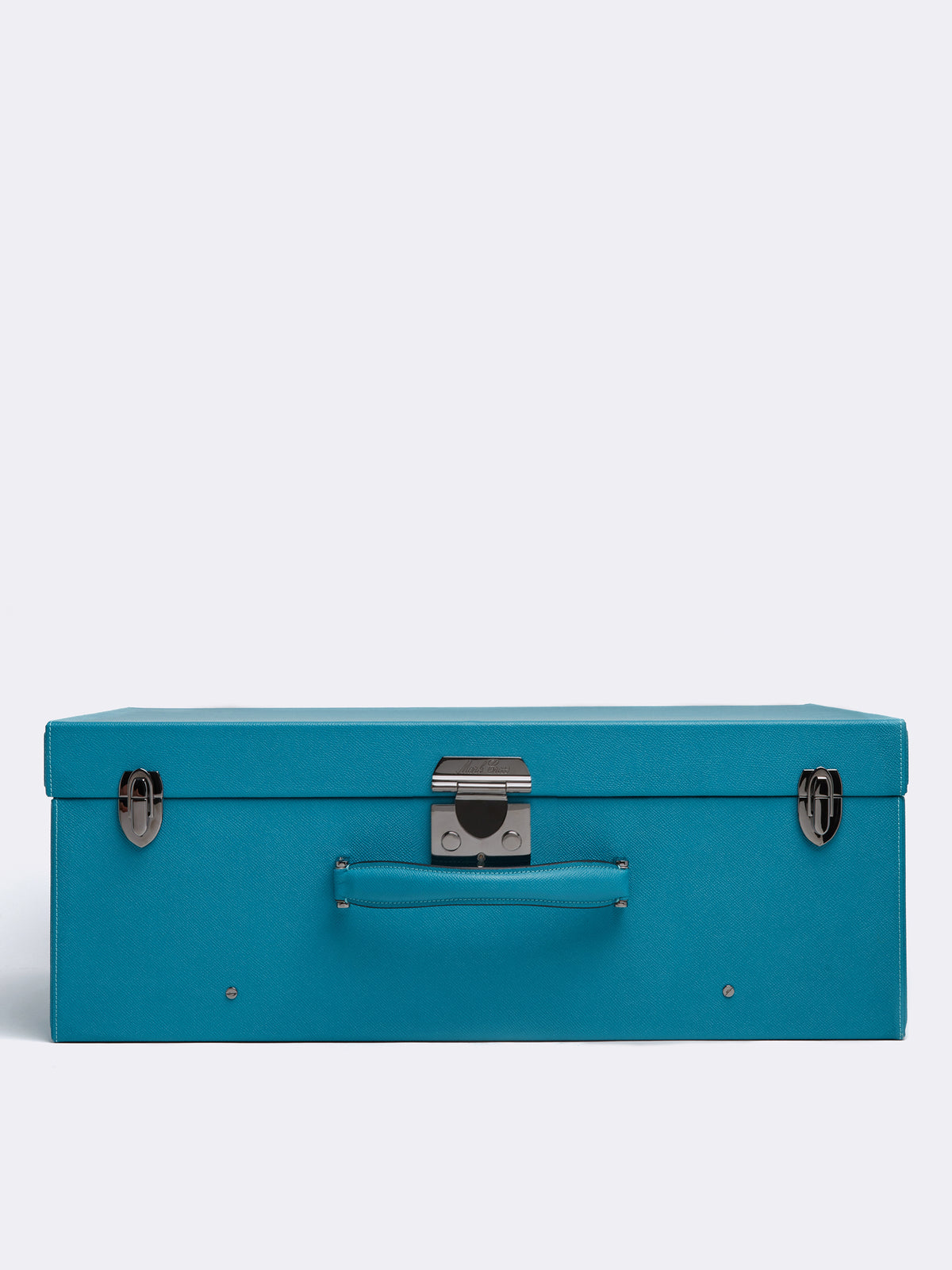 Mark Cross Grace Large Leather Trunk Saffiano Turquoise Side