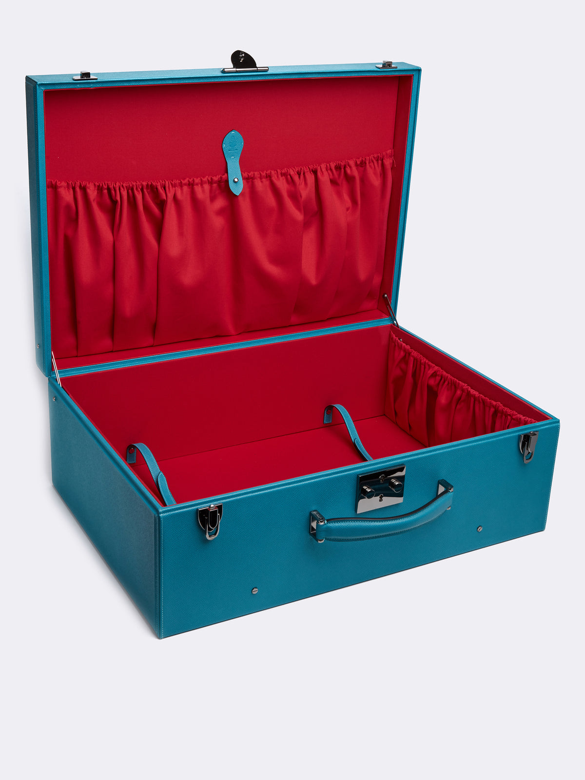 Mark Cross Grace Large Leather Trunk Saffiano Turquoise Interior