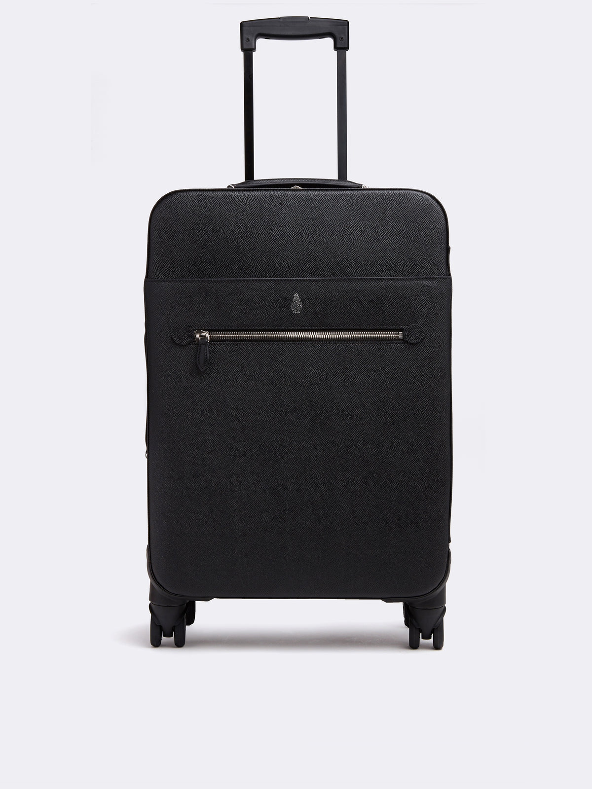 Mark Cross 4 Wheel Leather Trolley Saffiano Black Front