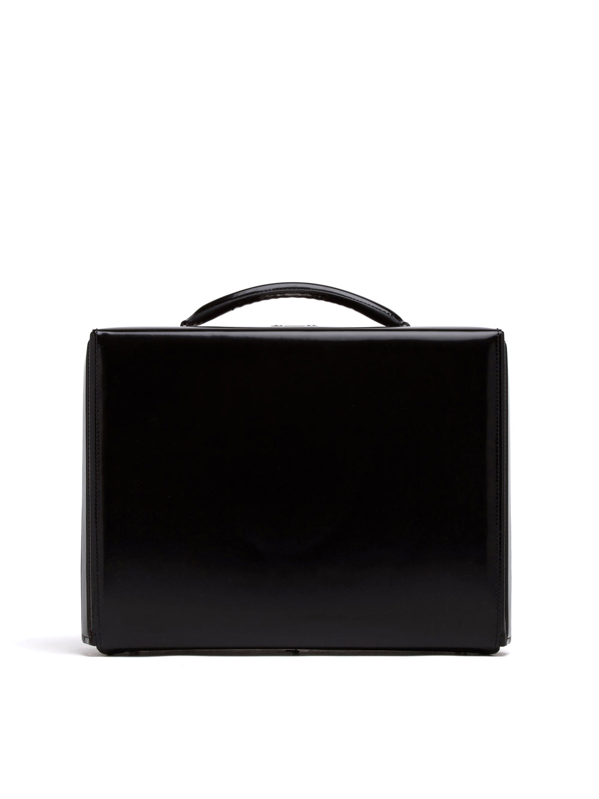 Mark Cross Grace Small Leather Briefcase Brush Off Black Front