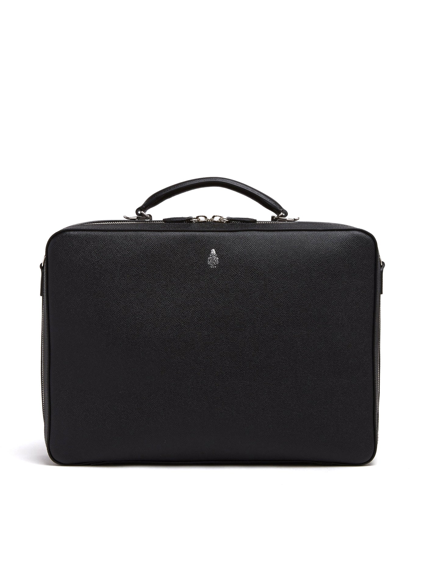 Mark Cross Baker Leather Briefcase Saffiano Black Front