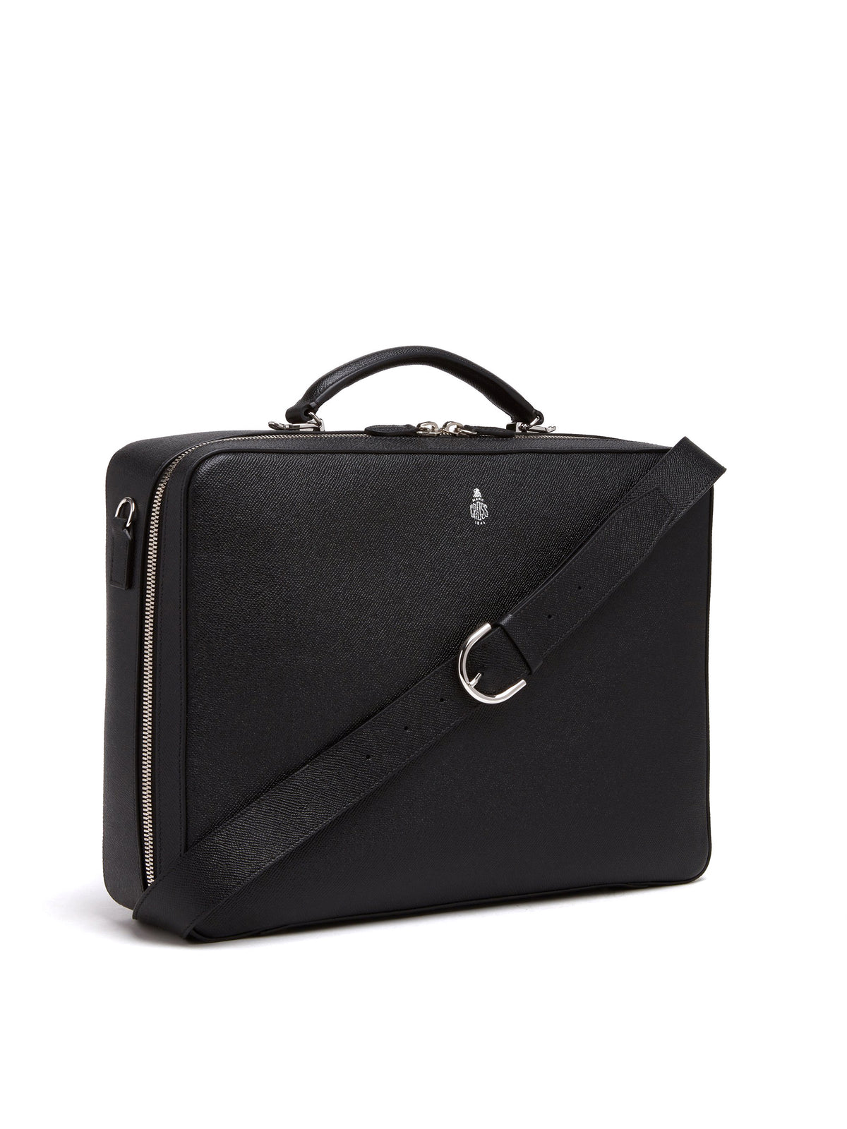 Mark Cross Baker Leather Briefcase Saffiano Black Side