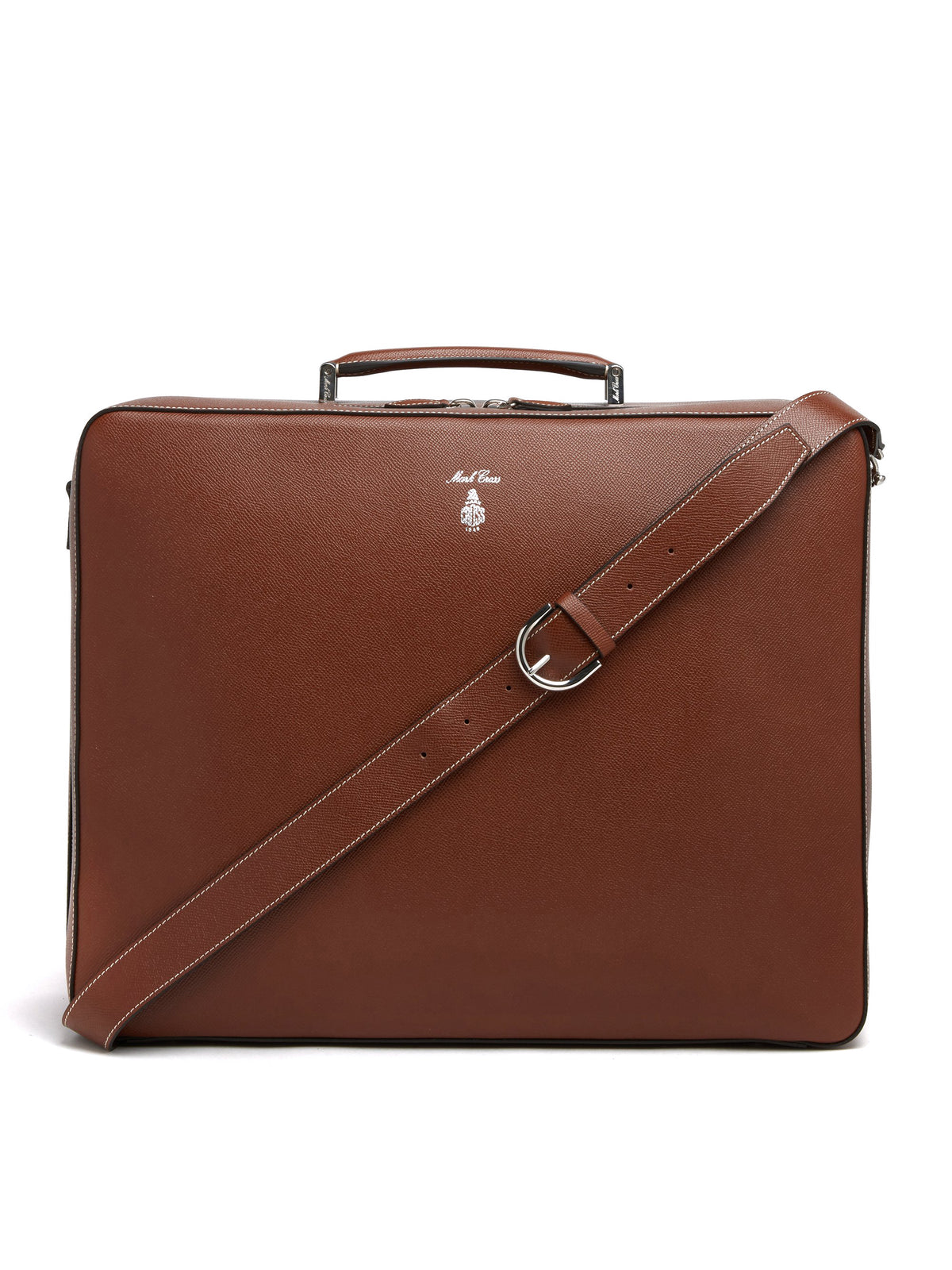 Mark Cross Baker Leather Overnight Bag Saffiano Acorn Front