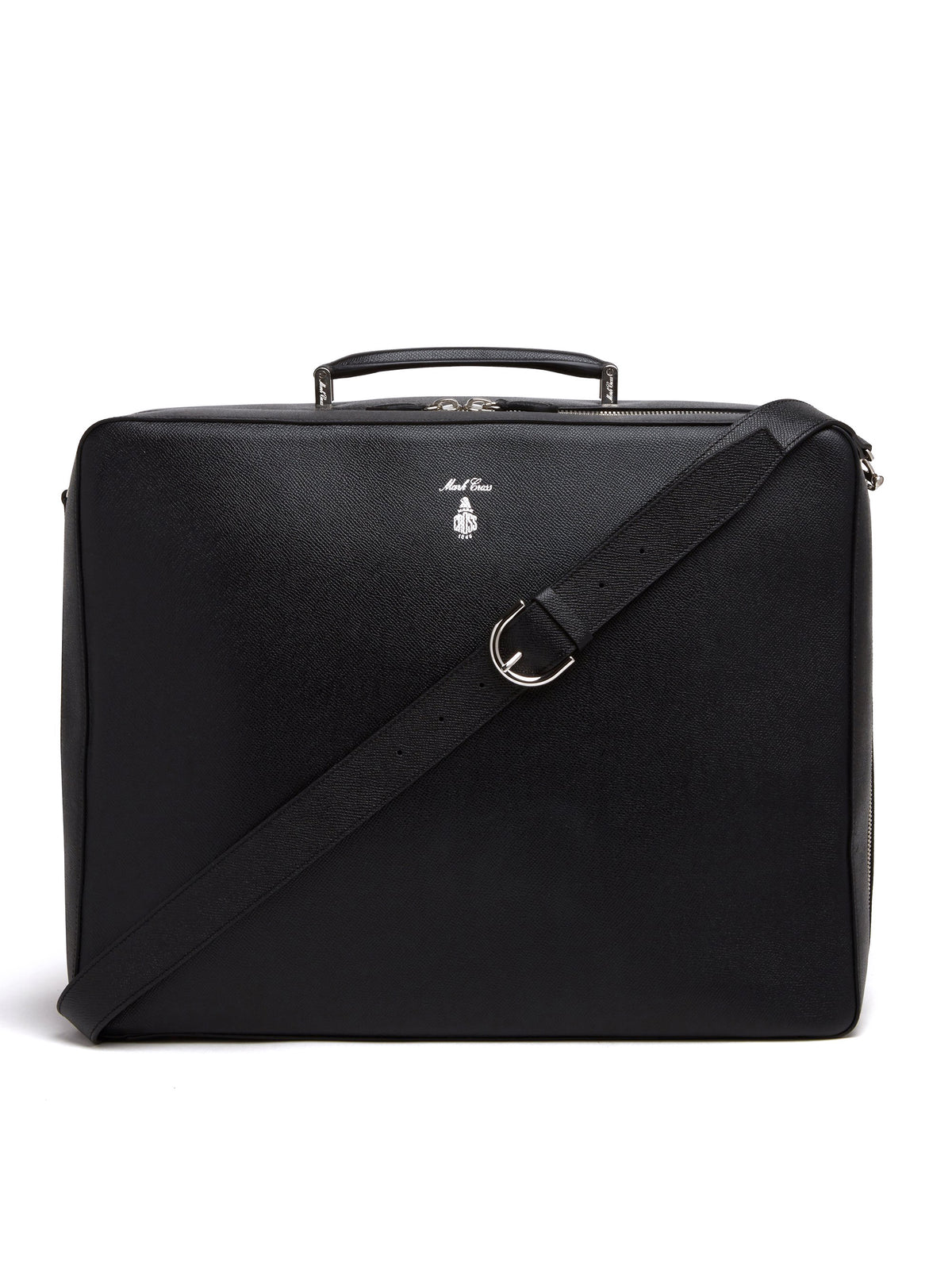 Mark Cross Baker Leather Overnight Bag Saffiano Black Front
