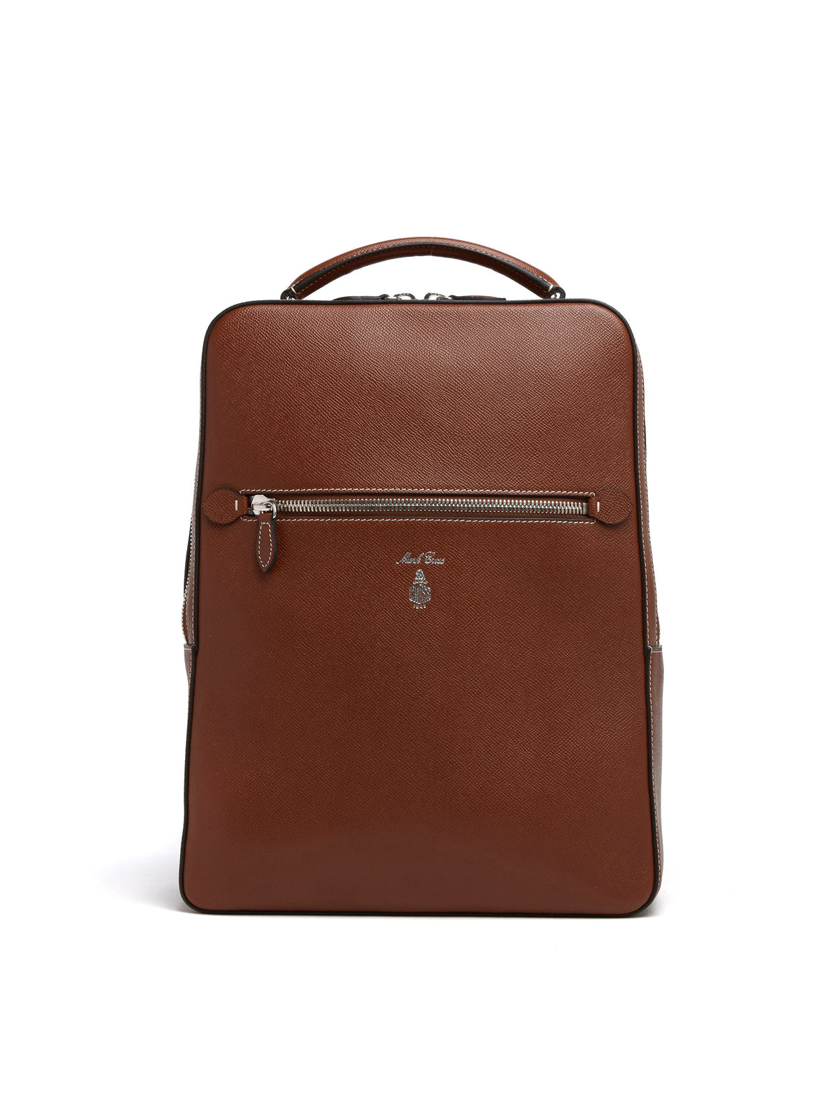 Mark Cross Alexander Leather Backpack Saffiano Acorn Front