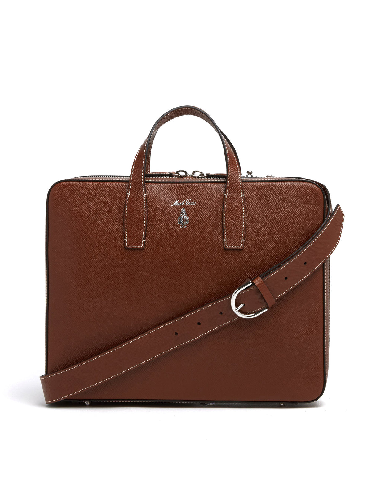Mark Cross Parker Leather Briefcase Saffiano Acorn Front