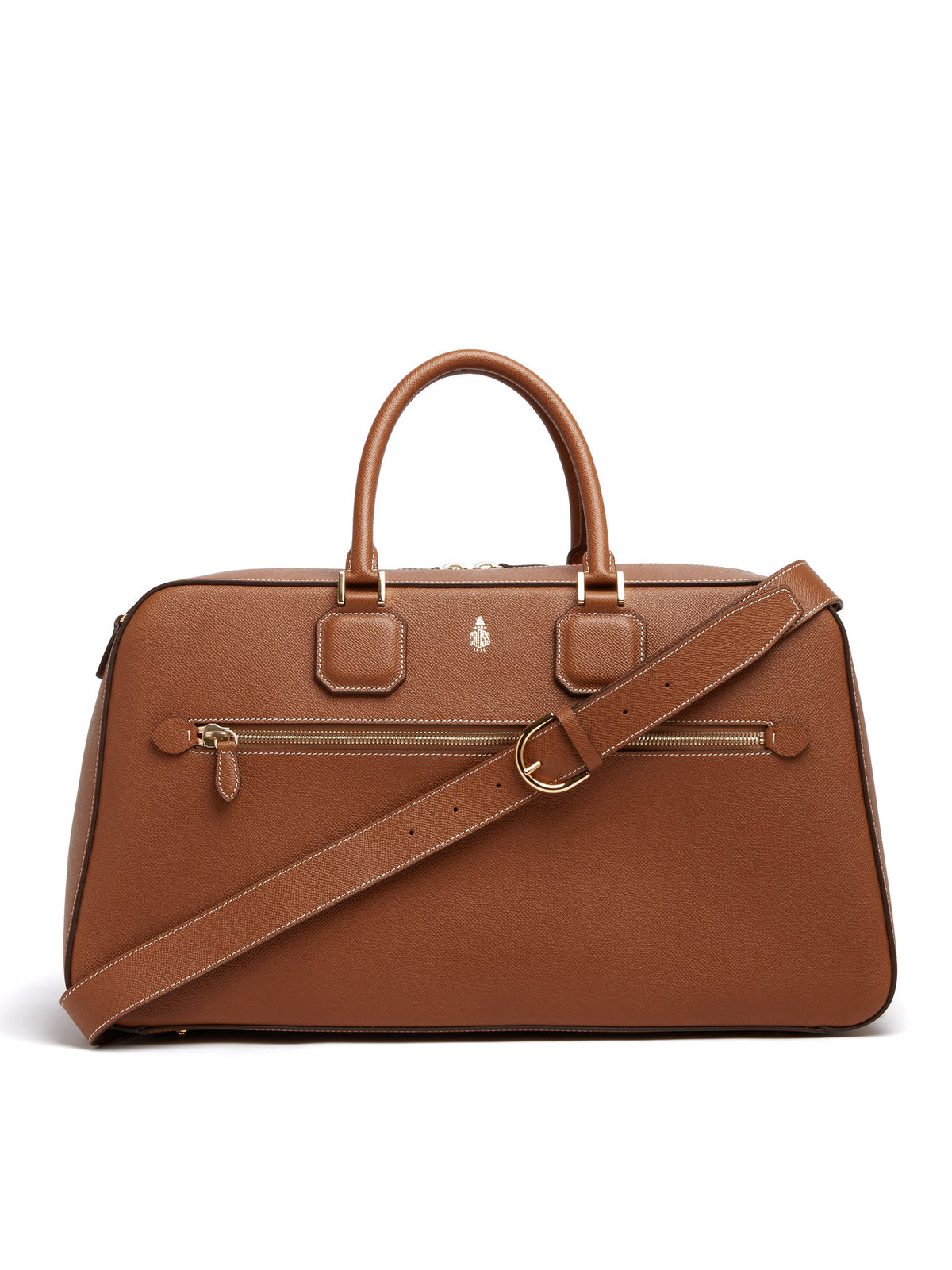 Mark Cross Cole Leather Duffle Bag Saffiano Luggage Front