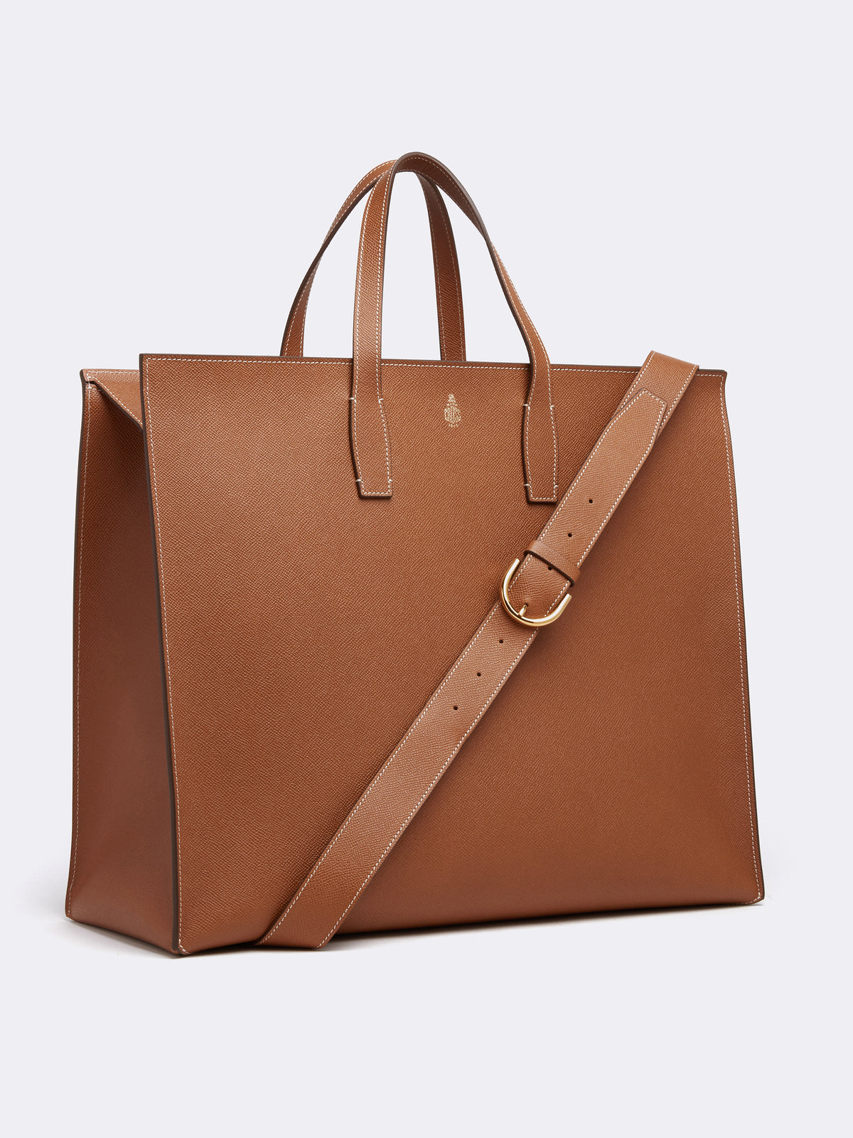 Mark Cross Fitzgerald East West Leather Tote Saffiano Luggage Side
