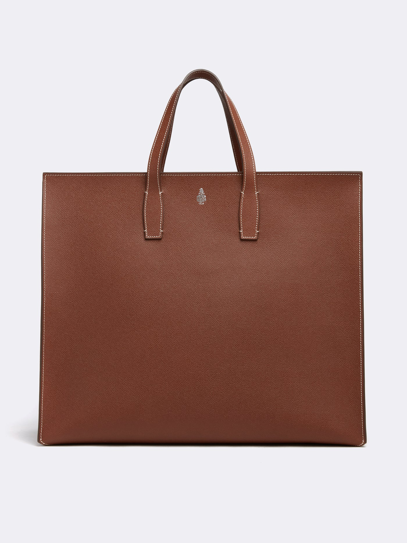 Mark Cross Fitzgerald East West Leather Tote Saffiano Acorn Front