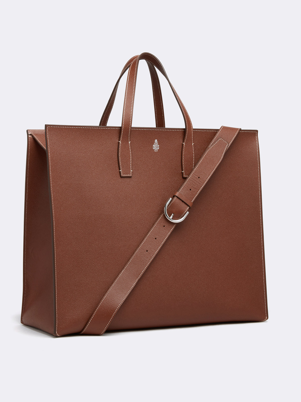 Mark Cross Fitzgerald East West Leather Tote Saffiano Acorn Side