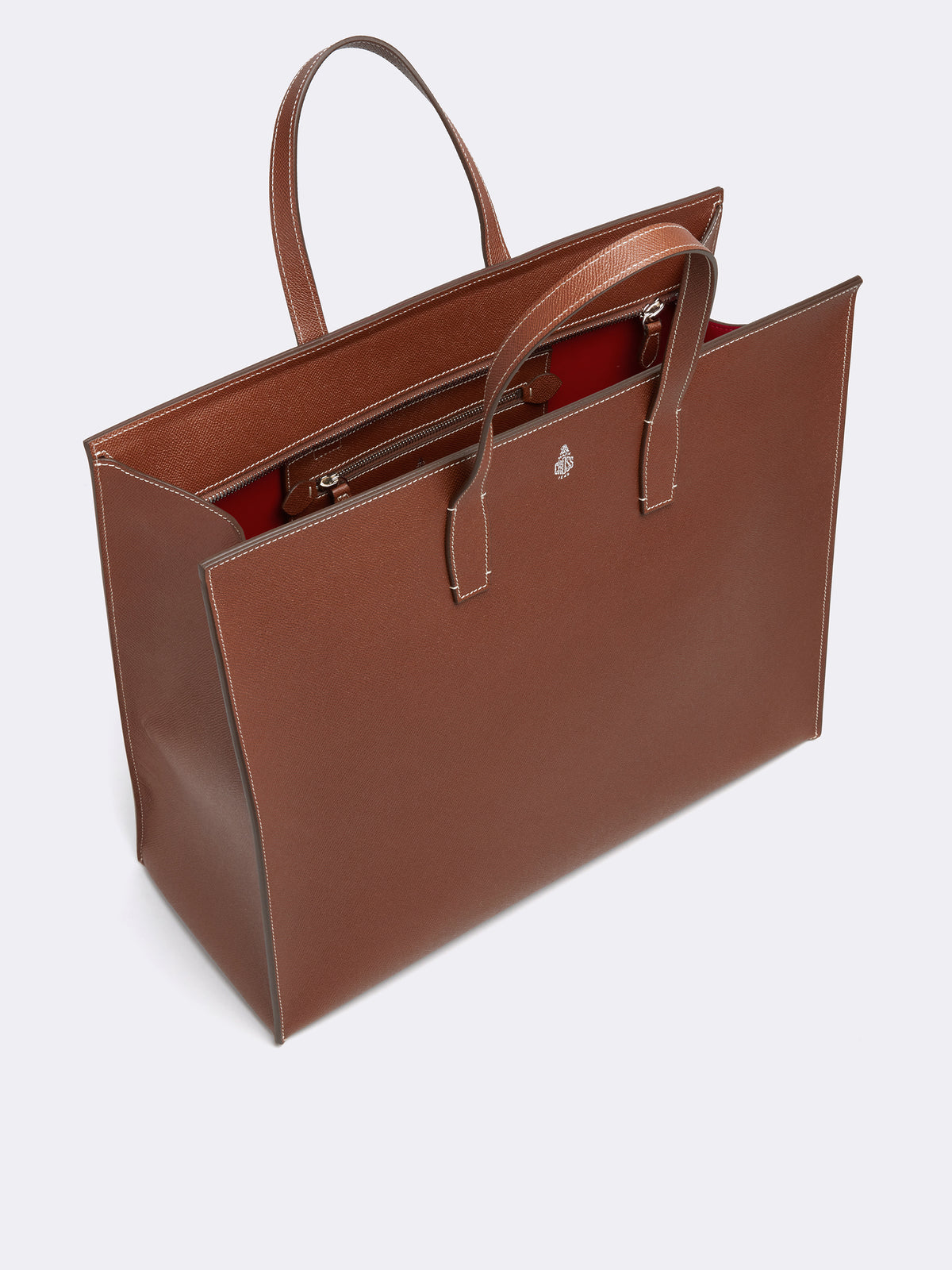 Mark Cross Fitzgerald East West Leather Tote Saffiano Acorn Interior
