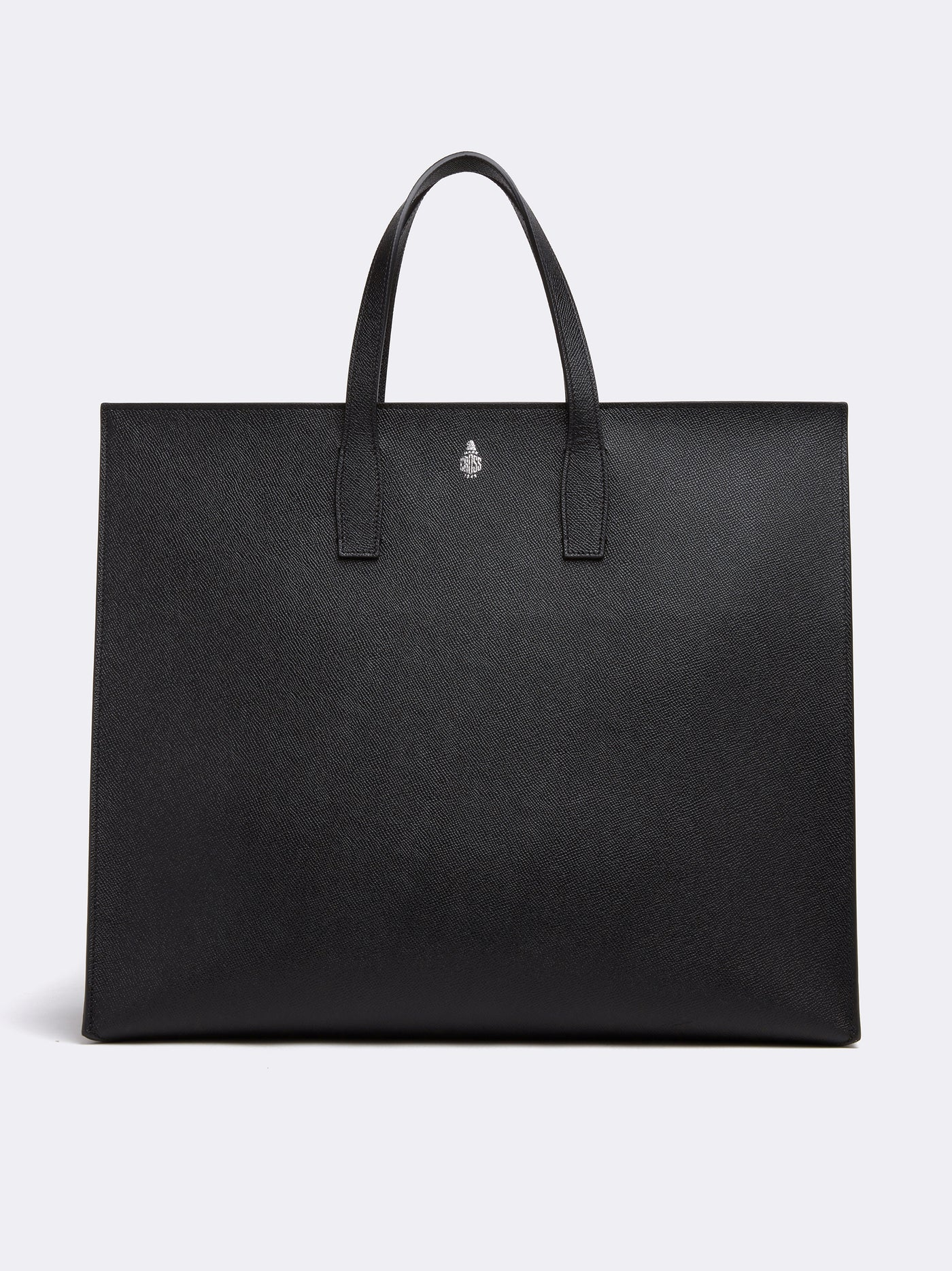 Mark Cross Fitzgerald East West Leather Tote Saffiano Black Front