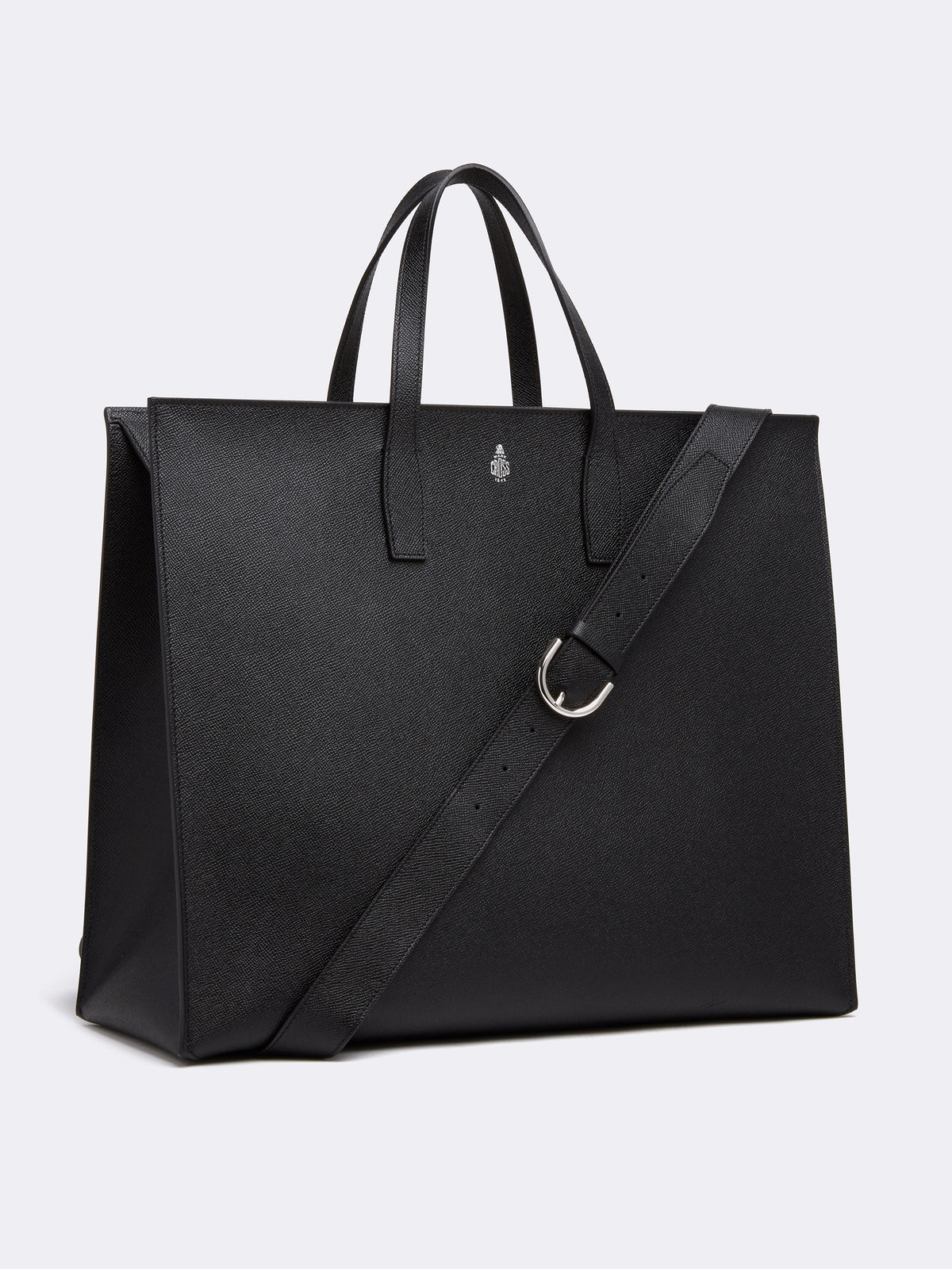 Mark Cross Fitzgerald East West Leather Tote Saffiano Black Side