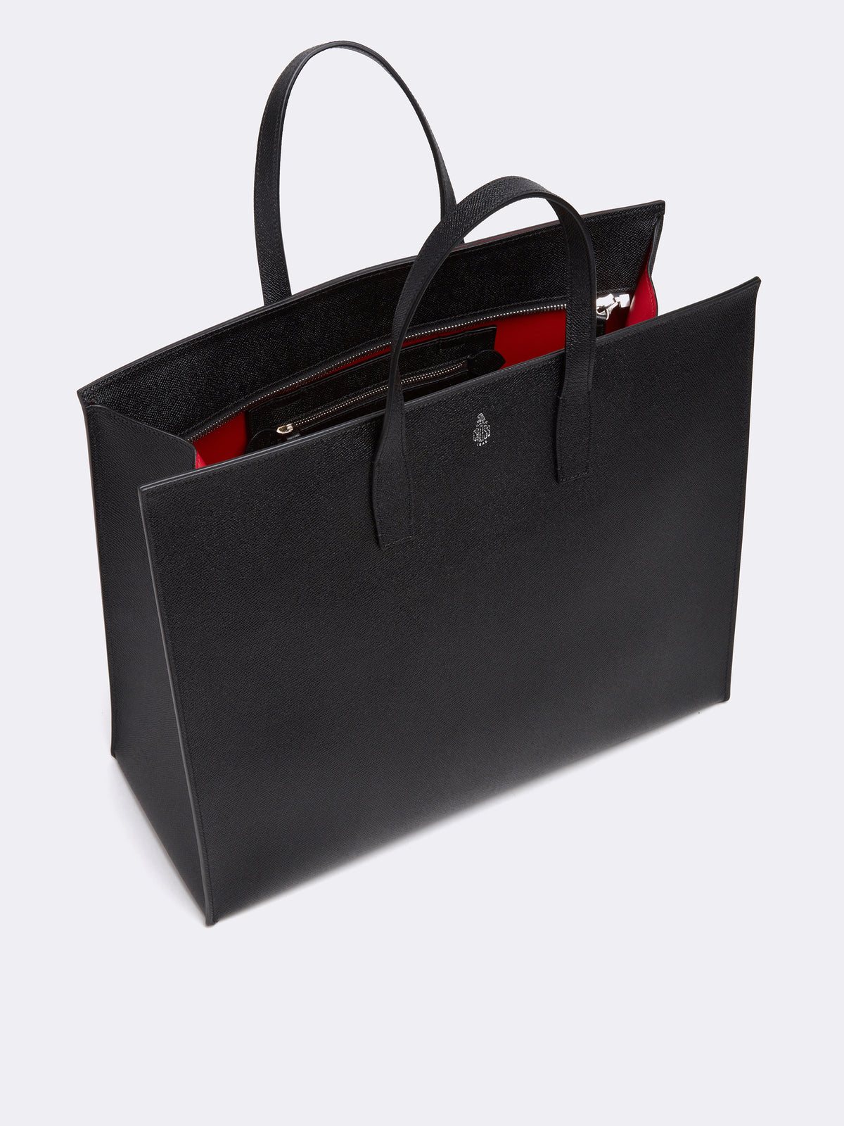 Mark Cross Fitzgerald East West Leather Tote Saffiano Black Interior