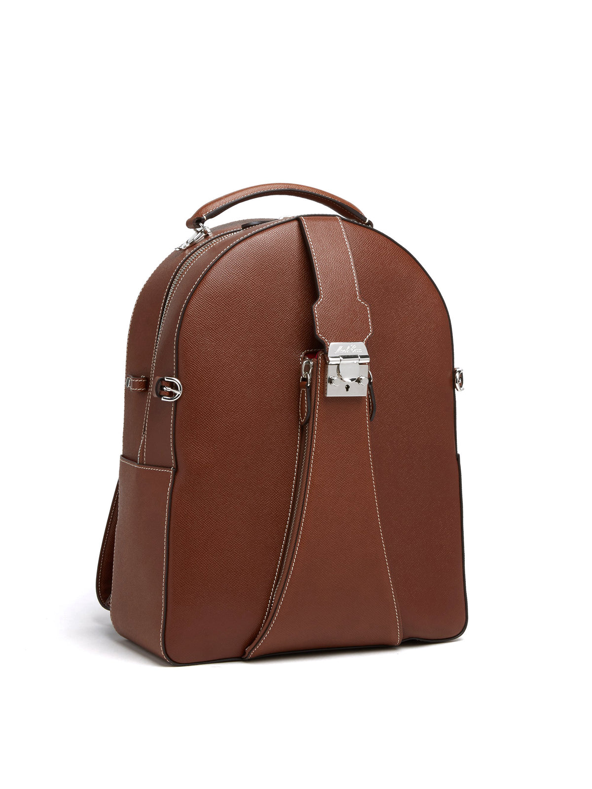 Mark Cross Equestrian Leather Helmet Backpack Saffiano Acorn Side