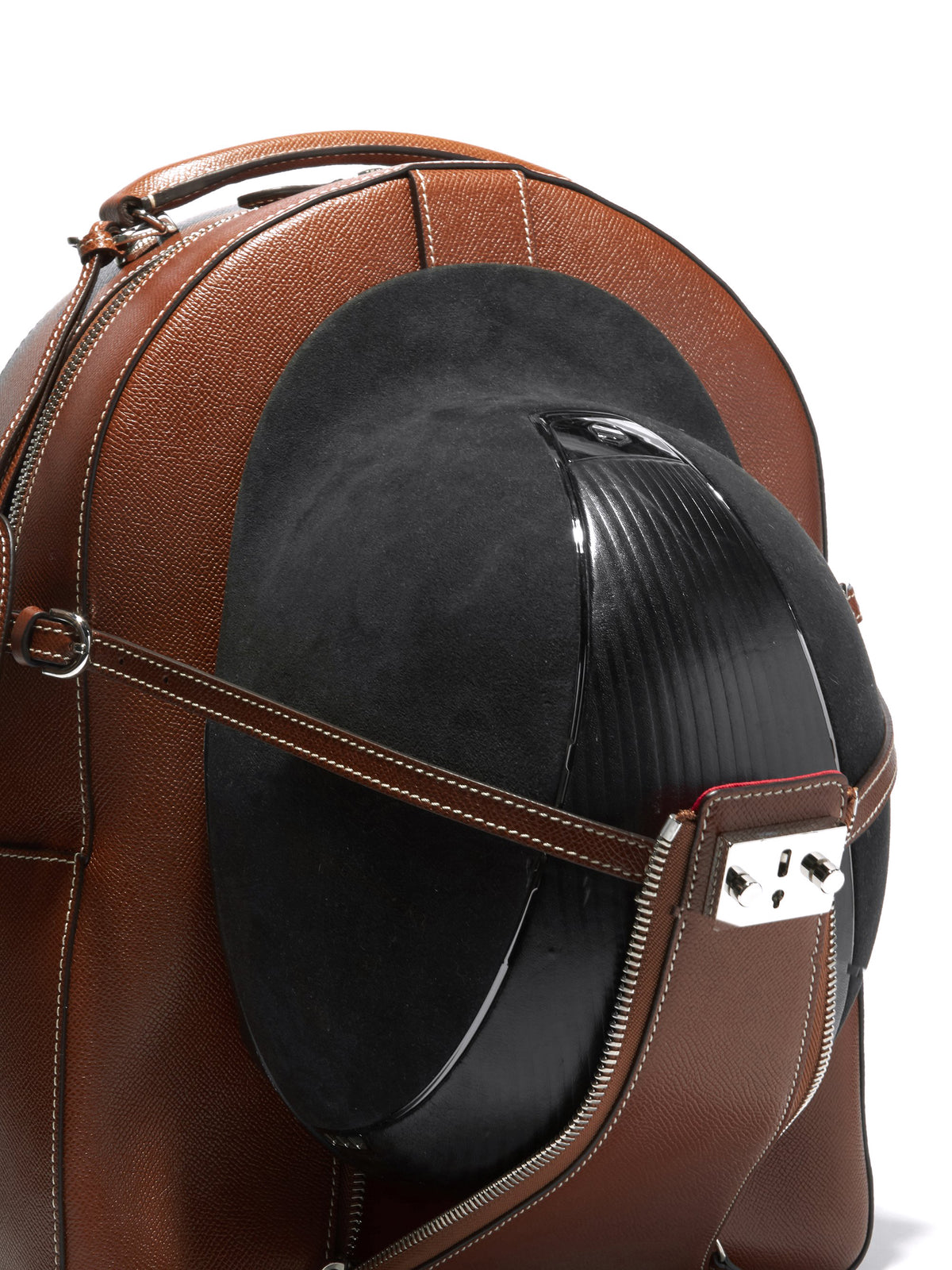Mark Cross Equestrian Leather Helmet Backpack Saffiano Acorn Detail