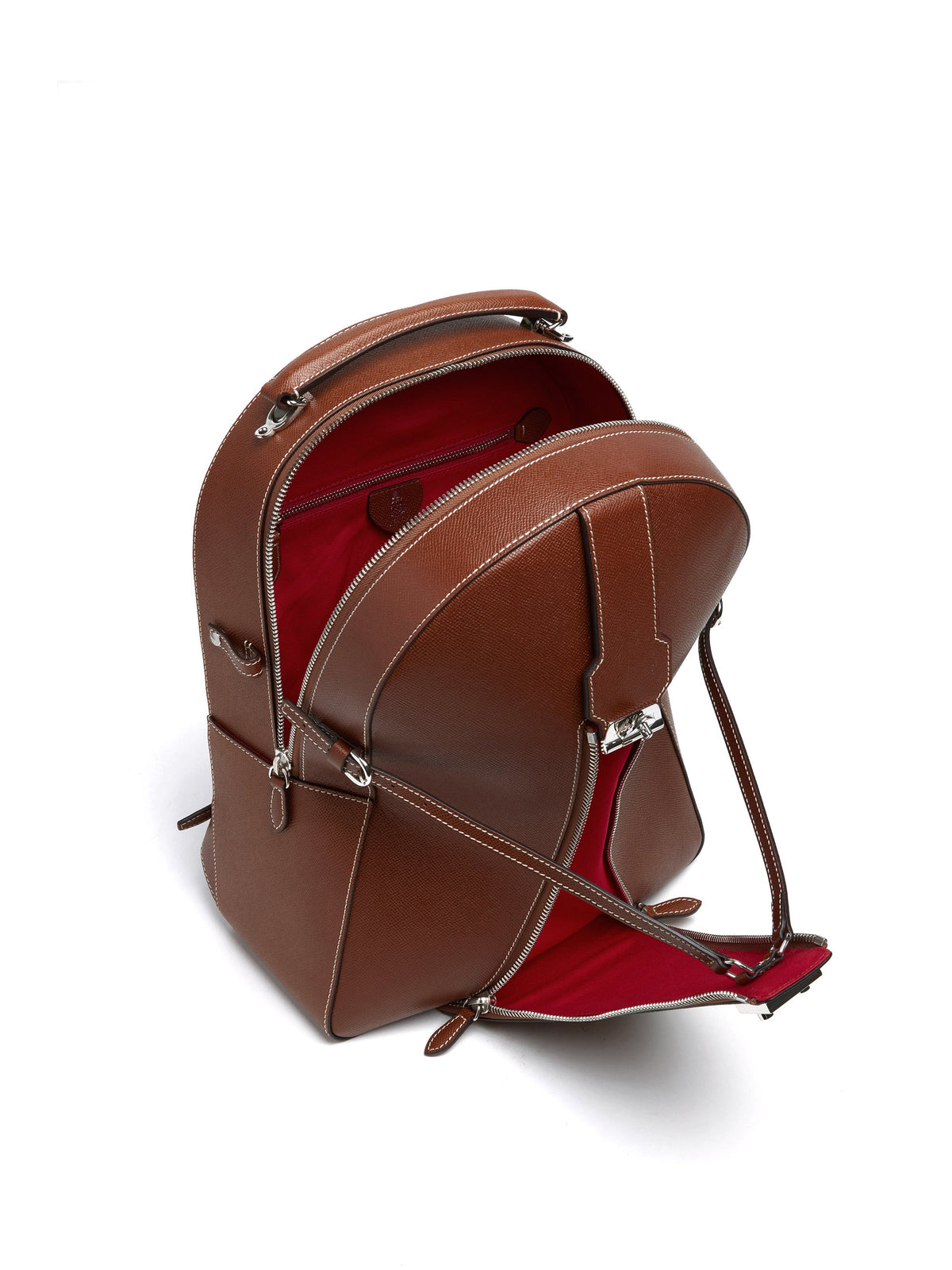 Mark Cross Equestrian Leather Helmet Backpack Saffiano Acorn Interior