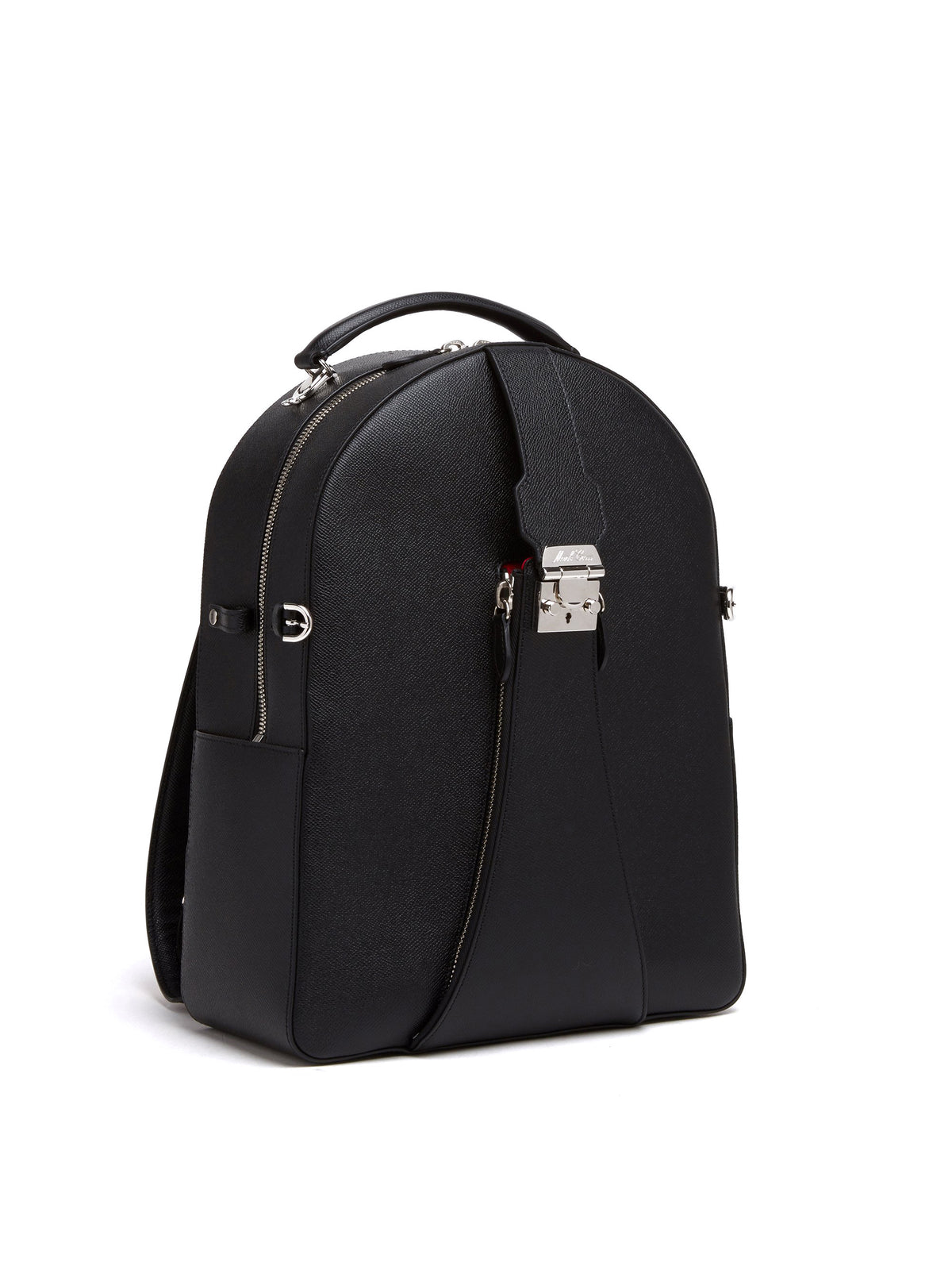 Mark Cross Equestrian Leather Helmet Backpack Saffiano Black Side