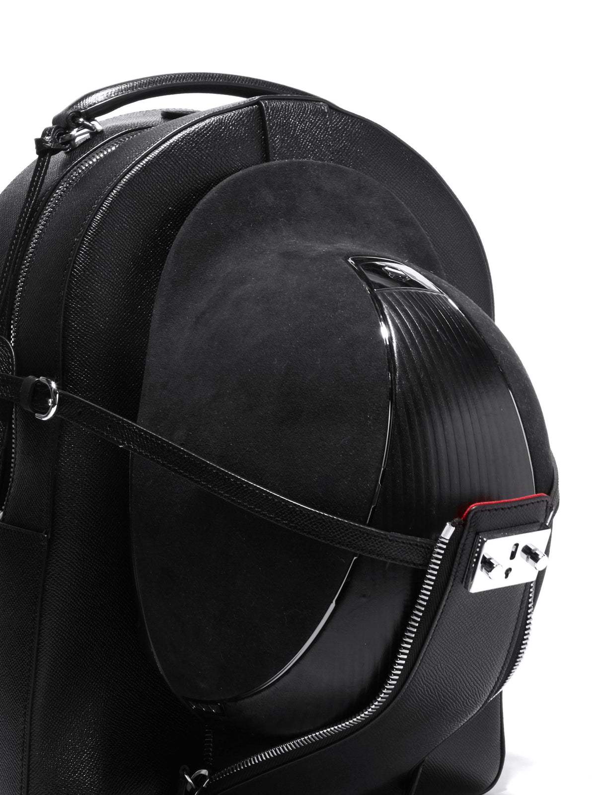 Mark Cross Equestrian Leather Helmet Backpack Saffiano Black Detail