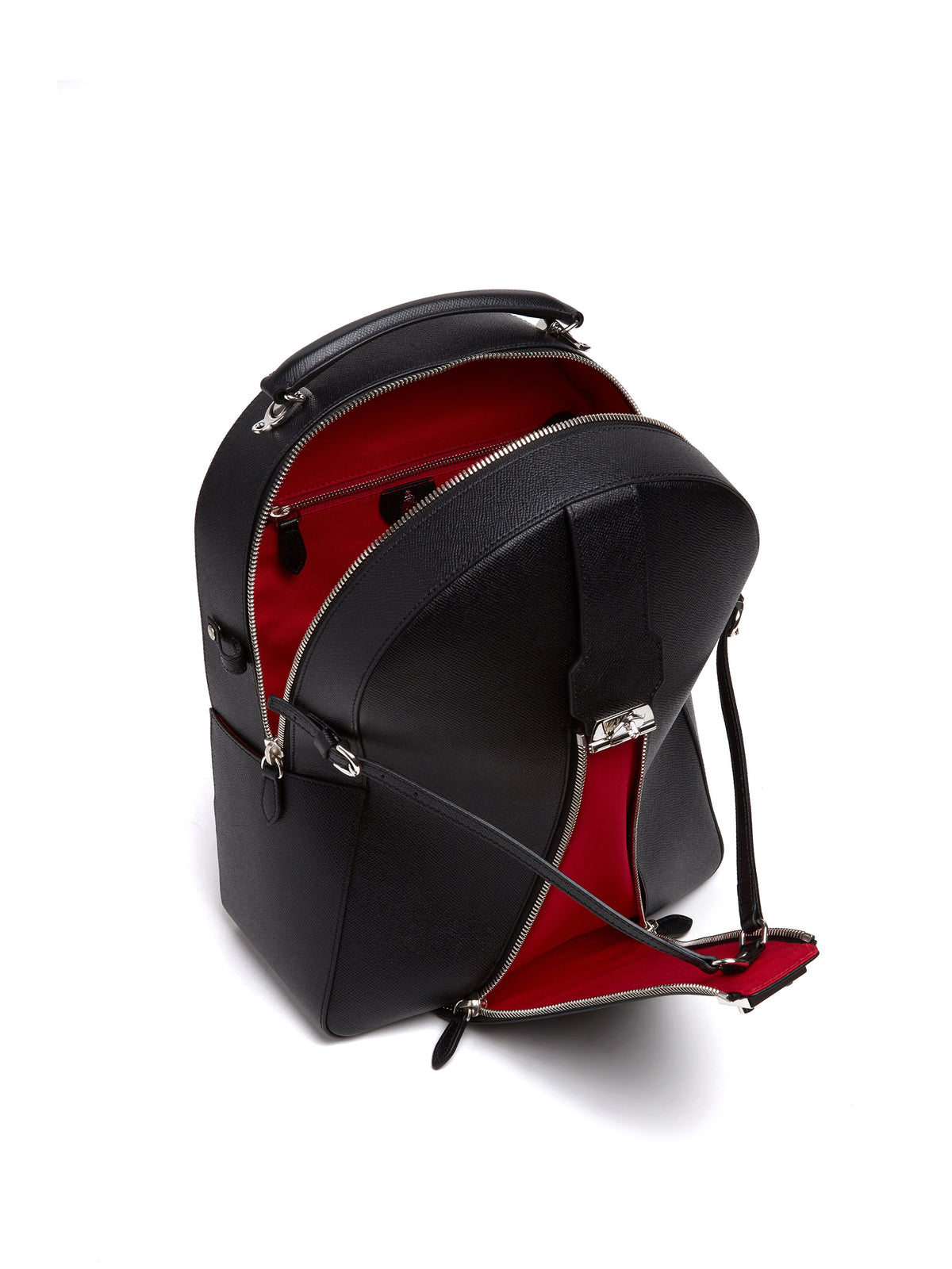 Mark Cross Equestrian Leather Helmet Backpack Saffiano Black Interior