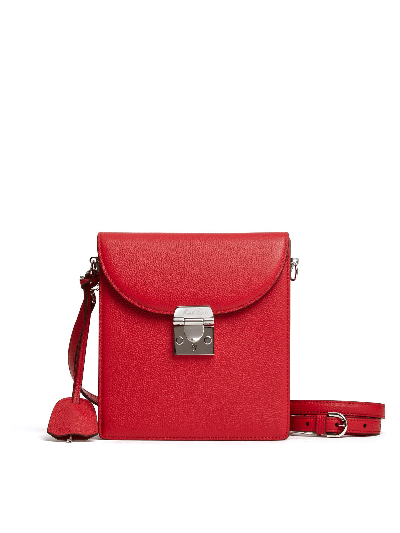 Mark Cross Patrick Leather Crossbody Bag Tumbled Grain MC Red Front