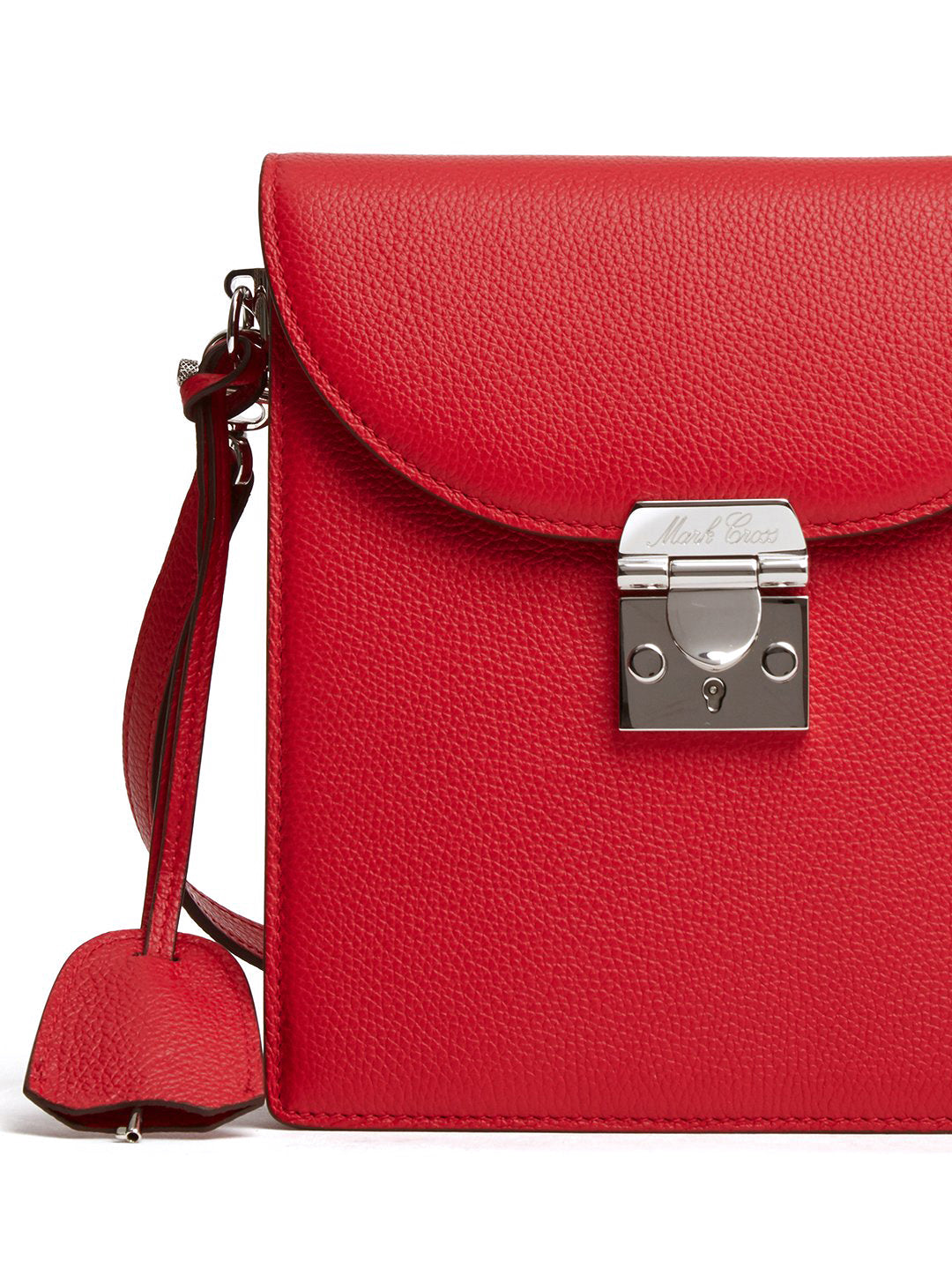 Mark Cross Patrick Leather Crossbody Bag Tumbled Grain MC Red Detail