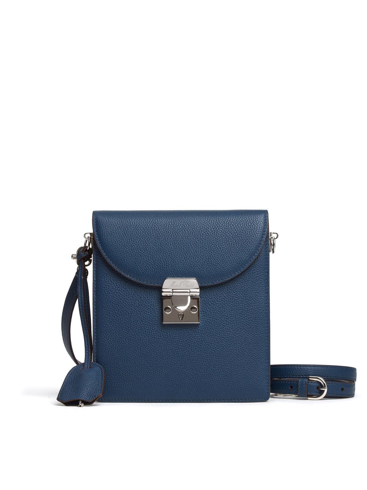 Mark Cross Patrick Leather Crossbody Bag Tumbled Grain Navy Front
