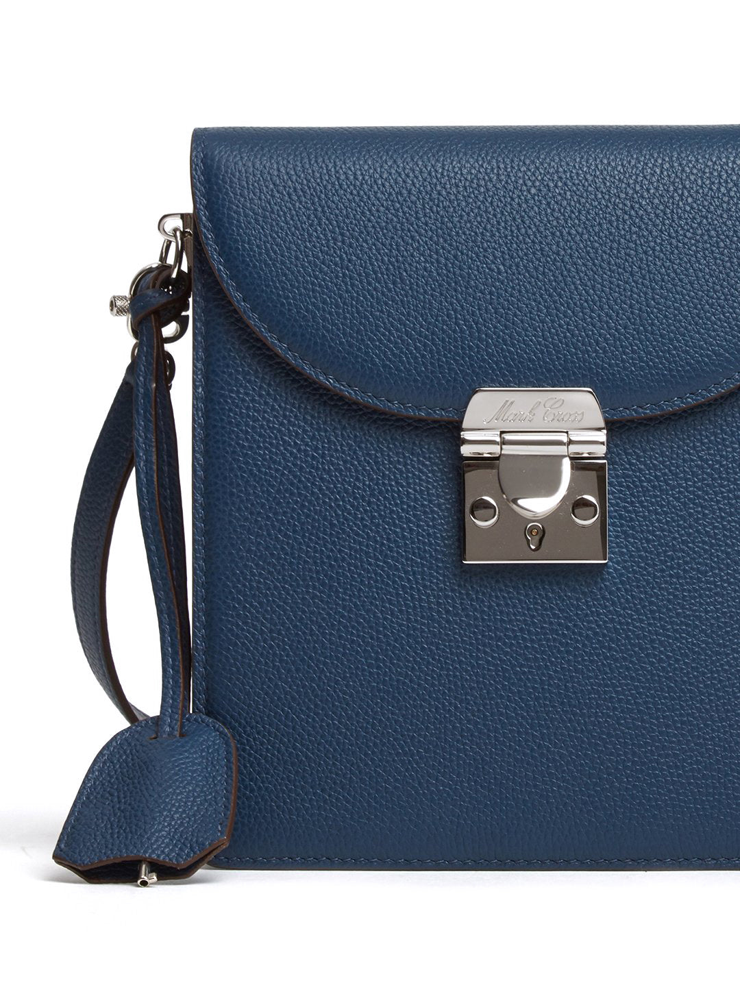 Mark Cross Patrick Leather Crossbody Bag Tumbled Grain Navy Detail