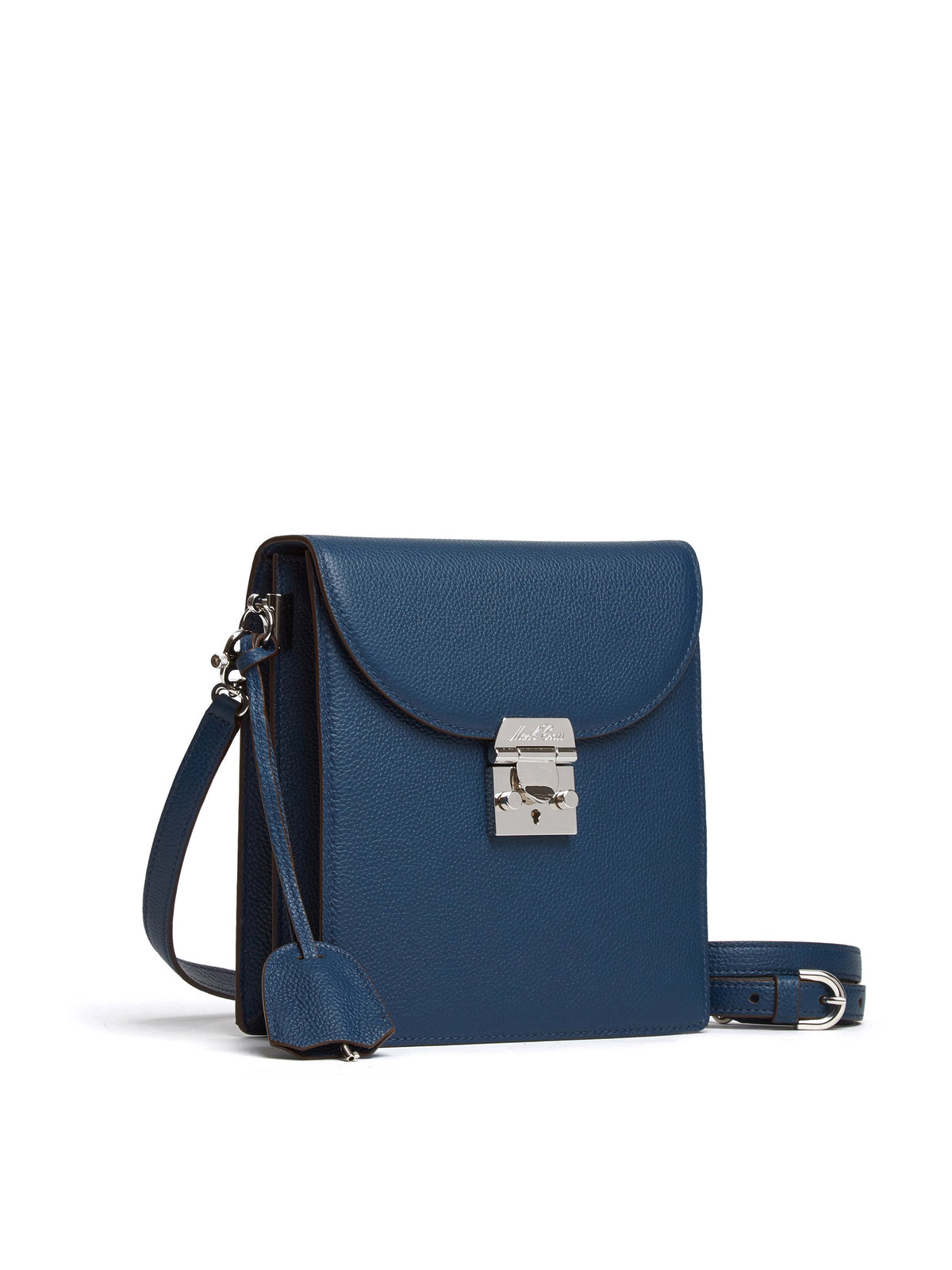 Mark Cross Patrick Leather Crossbody Bag Tumbled Grain Navy Side