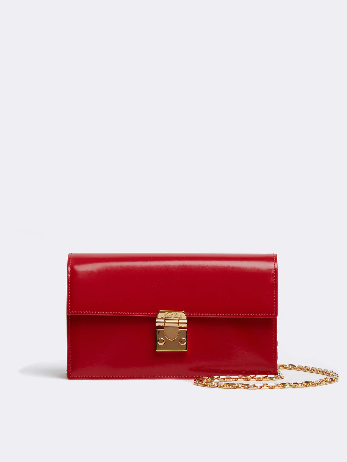 Mark Cross Jacqueline Leather Crossbody Bag Brush Off MC Red Front