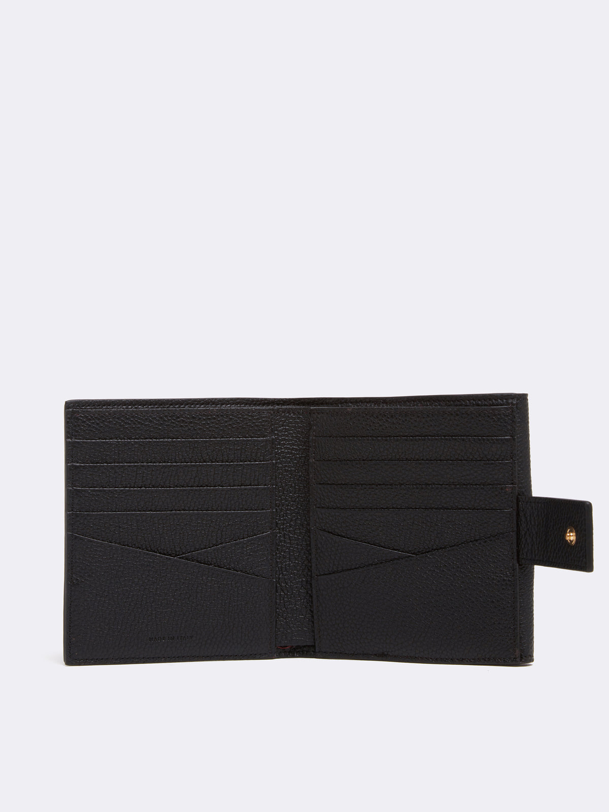 Mark Cross Hadley Leather French Wallet Tumbled Grain Black Interior