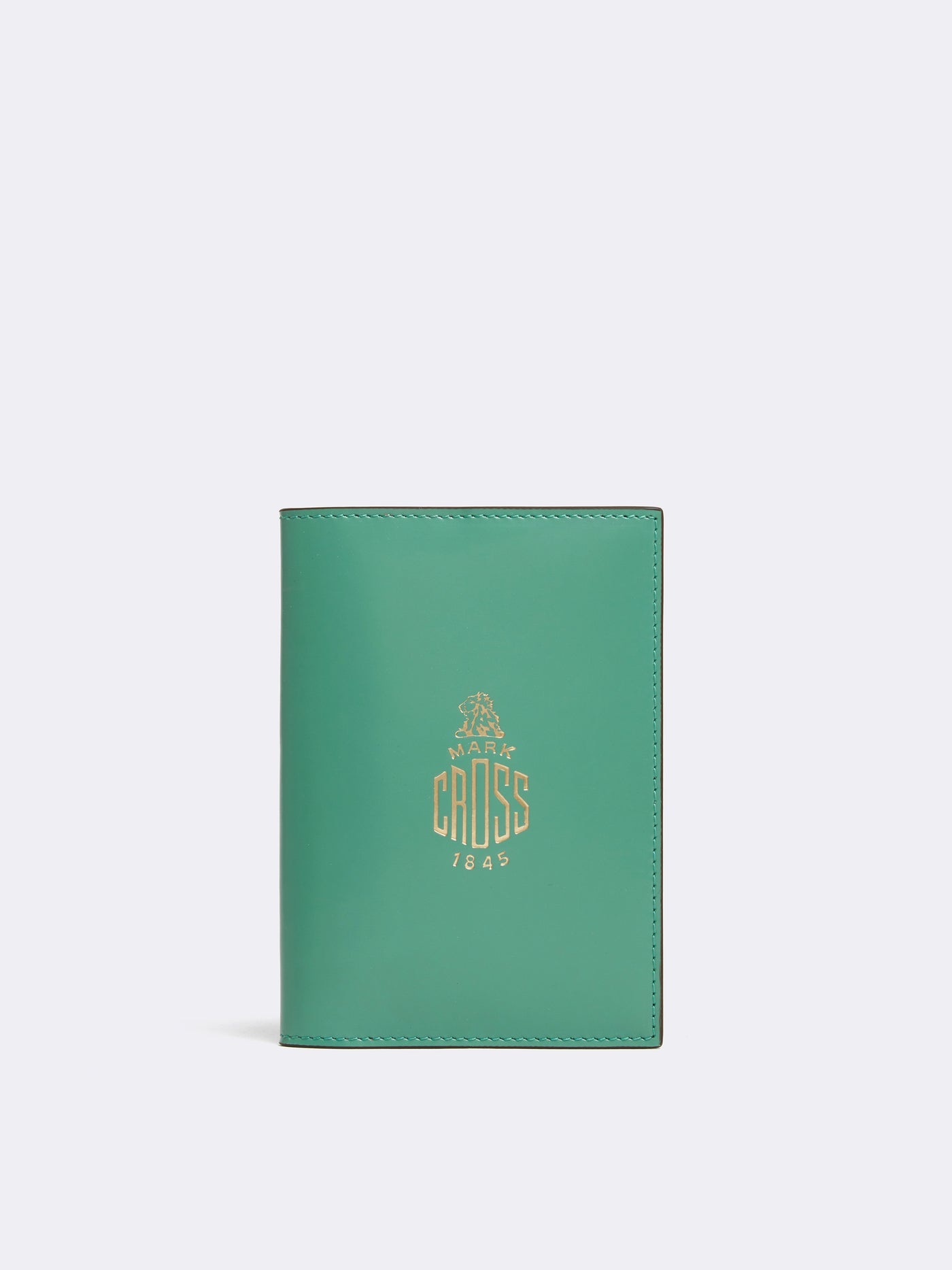 Mark Cross Leather Passport Cover Brush Off Celadon Front