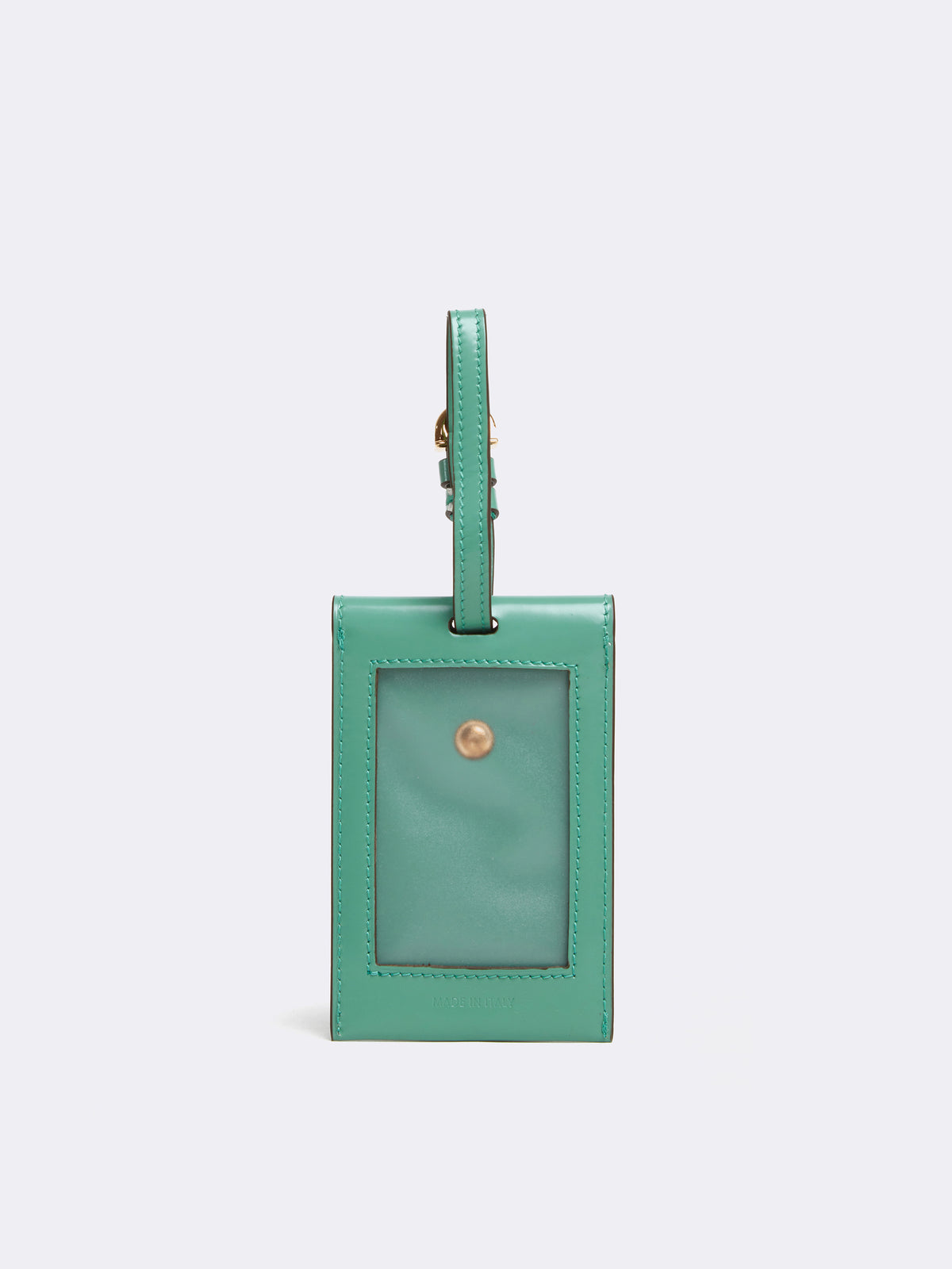 Mark Cross Leather Luggage Tag Brush Off Celadon Back