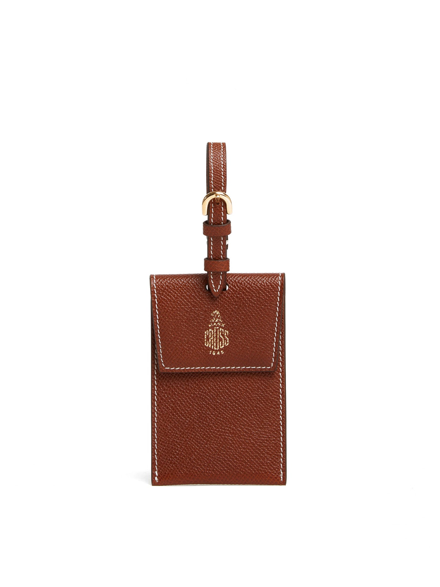 Mark Cross Leather Luggage Tag Saffiano Acorn Front