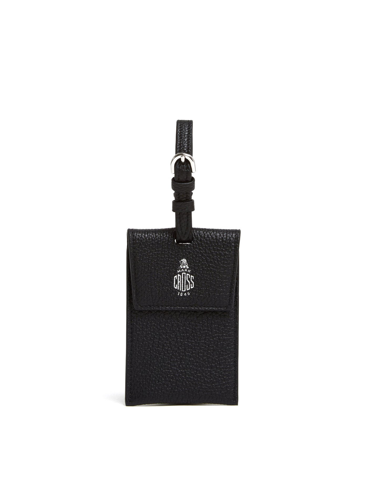 Mark Cross Leather Luggage Tag Tumbled Grain Black Front