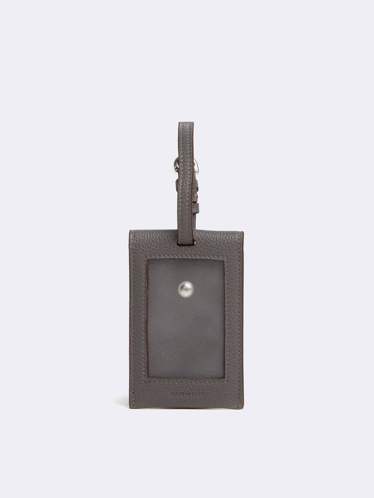 Mark Cross Leather Luggage Tag Tumbled Grain Grey Back