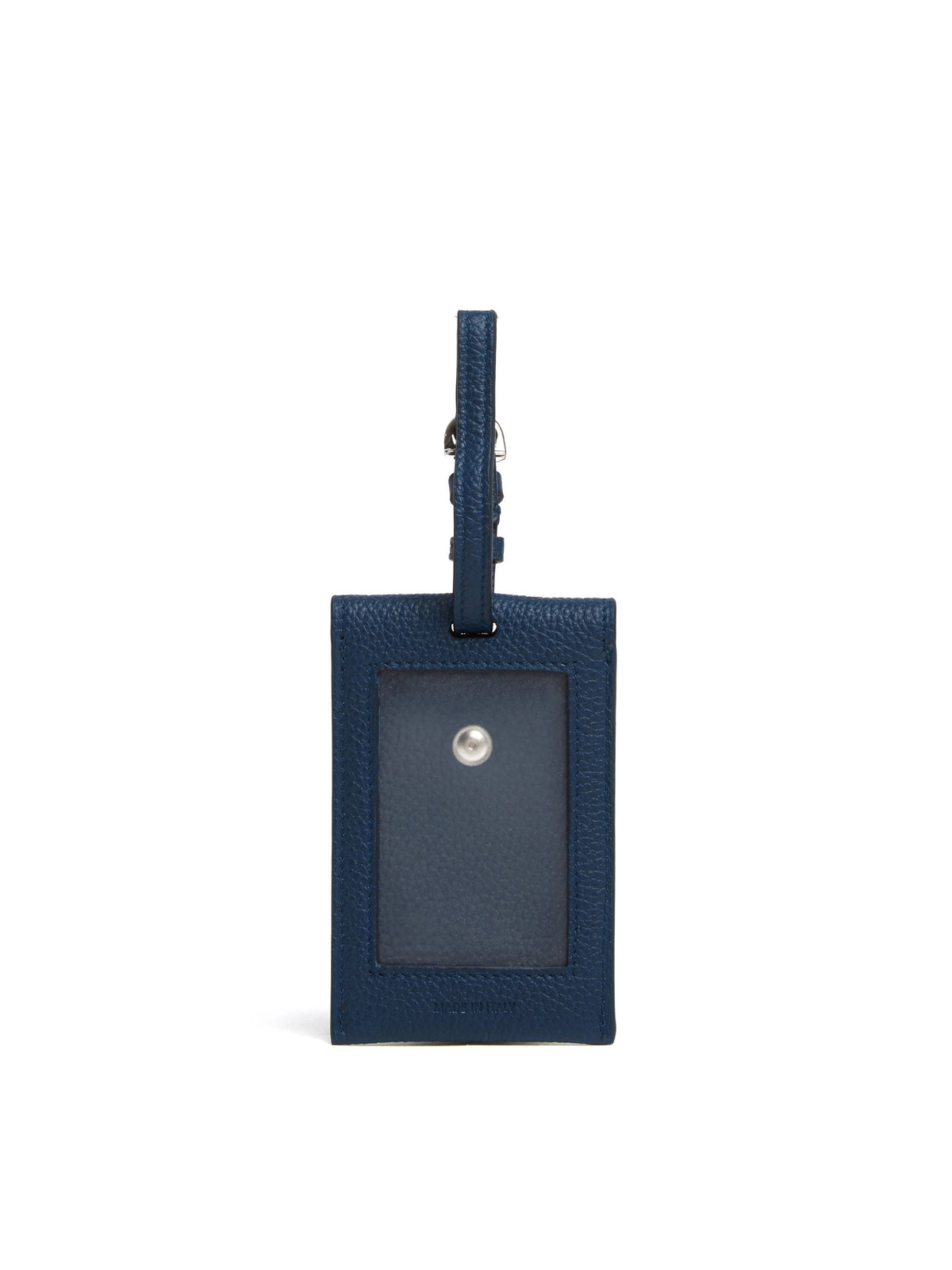Mark Cross Leather Luggage Tag Tumbled Grain Navy Back