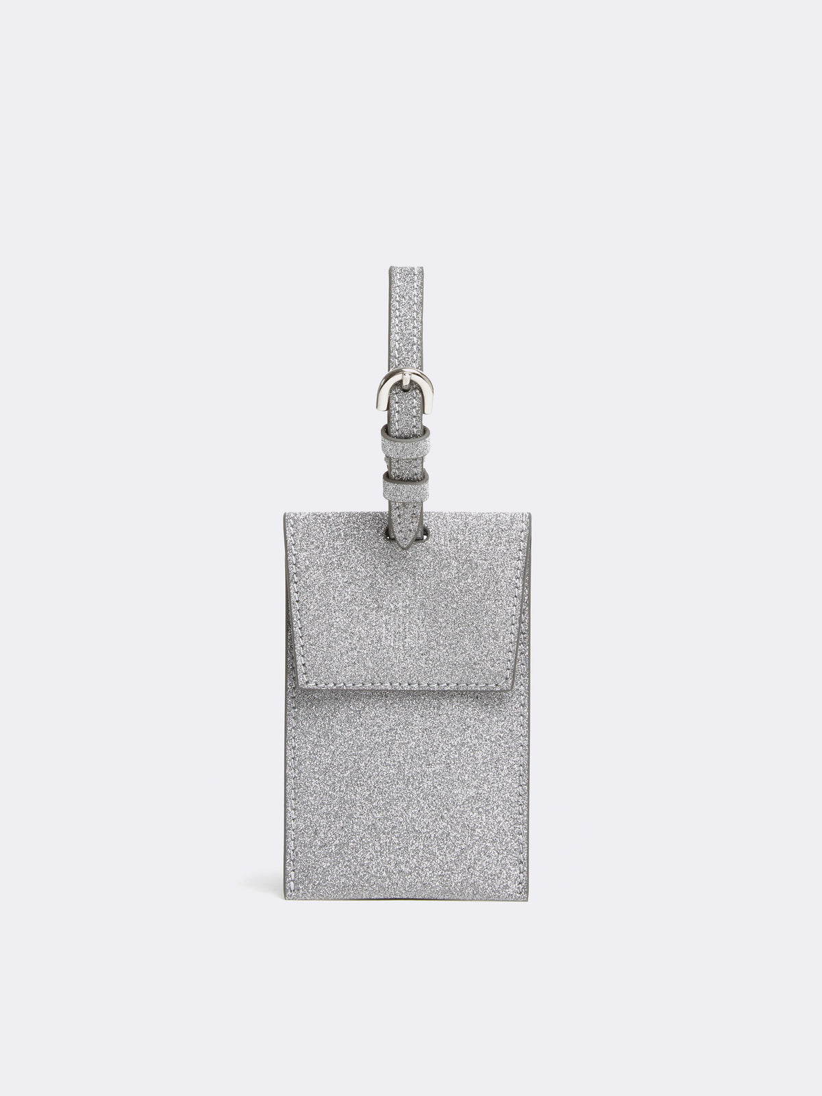 Mark Cross Leather Luggage Tag Luminous Glitter Silver Front